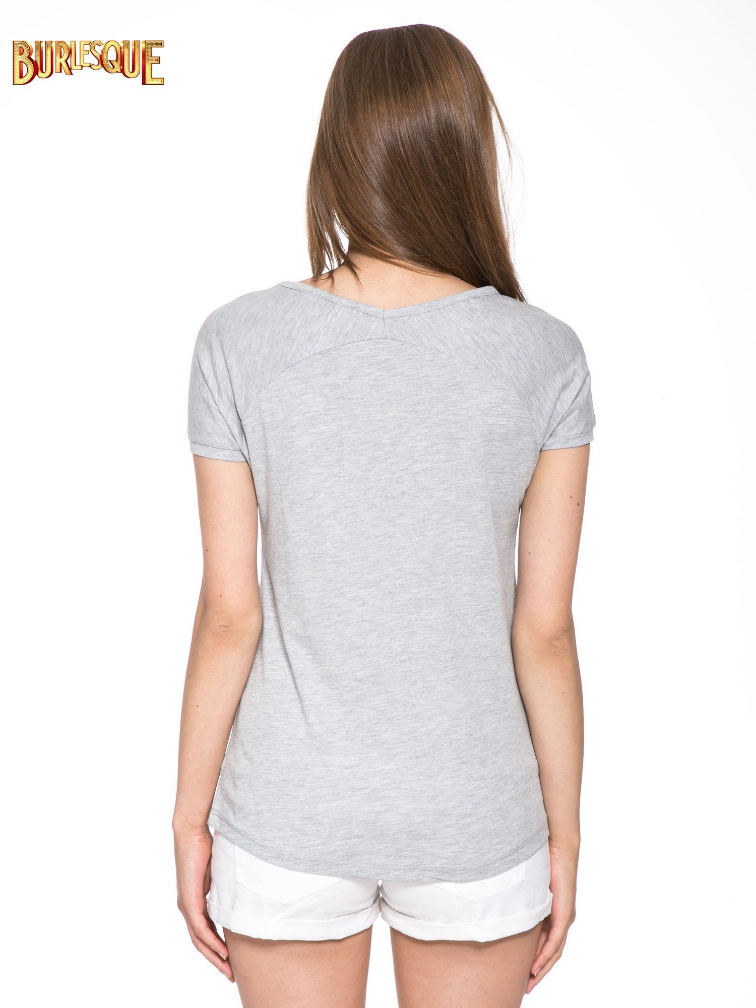 Szary t-shirt z nadrukiem kwiatowym PRETTY GIRL                                  zdj.                                  4