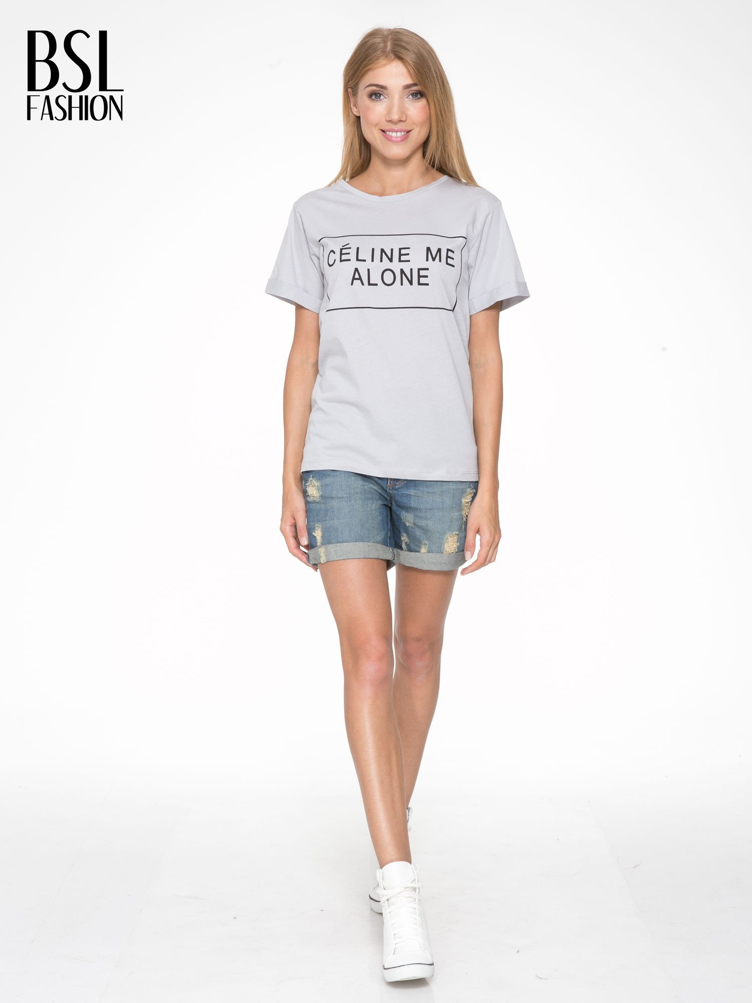 Szary t-shirt z napisem CÉLINE ME ALONE                                  zdj.                                  5