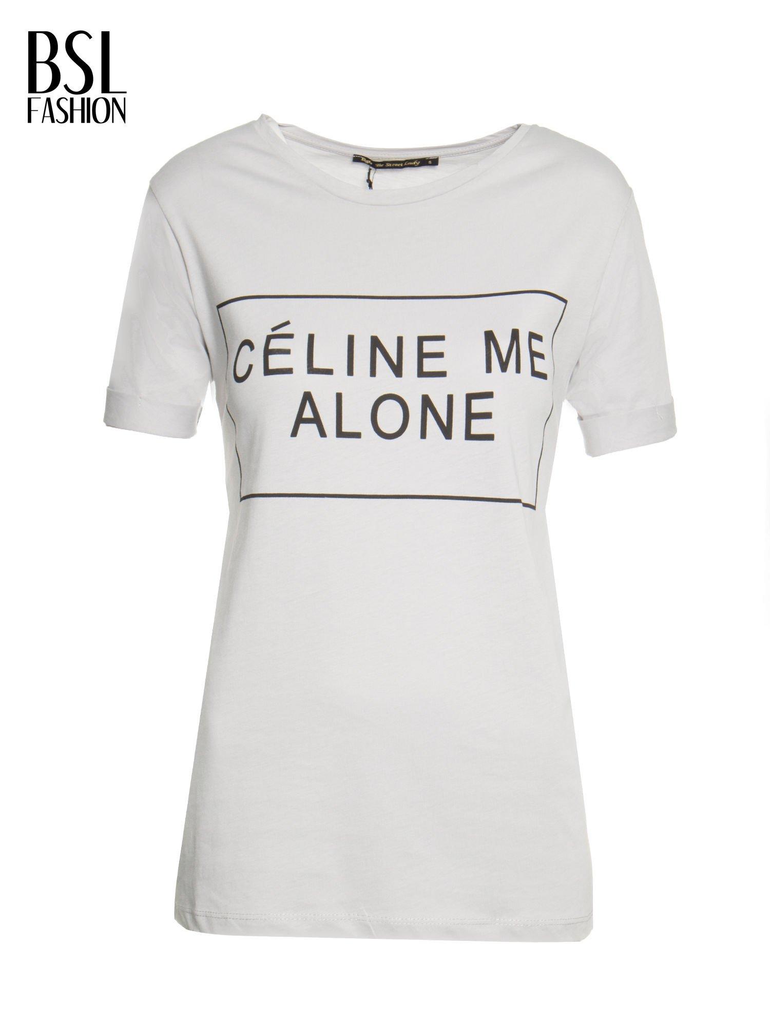Szary t-shirt z napisem CÉLINE ME ALONE                                  zdj.                                  2