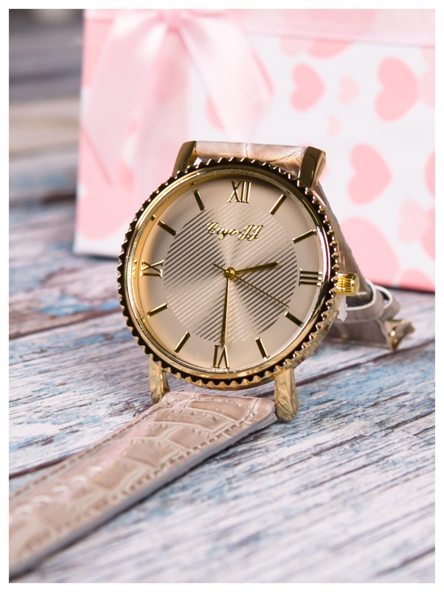 Szary zegarek damski na skórzanym lakierowanym pasku                                  zdj.                                  3
