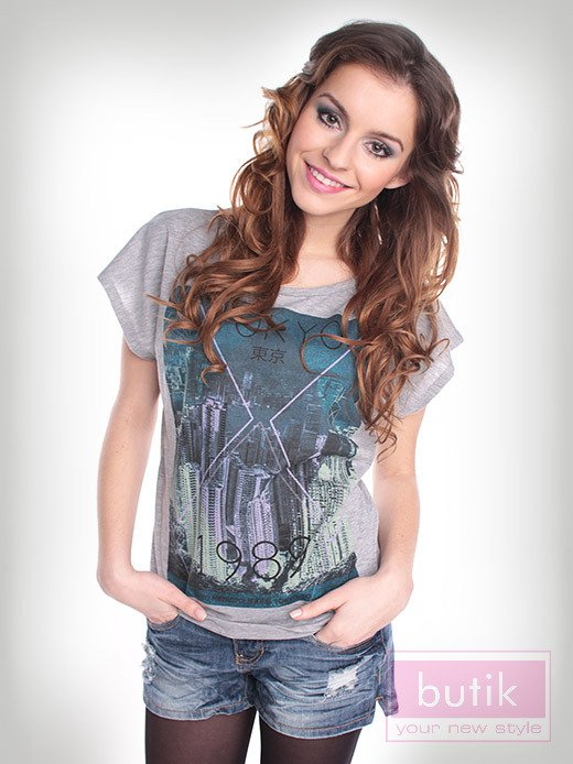T-shirt szary Oversize                                  zdj.                                  1