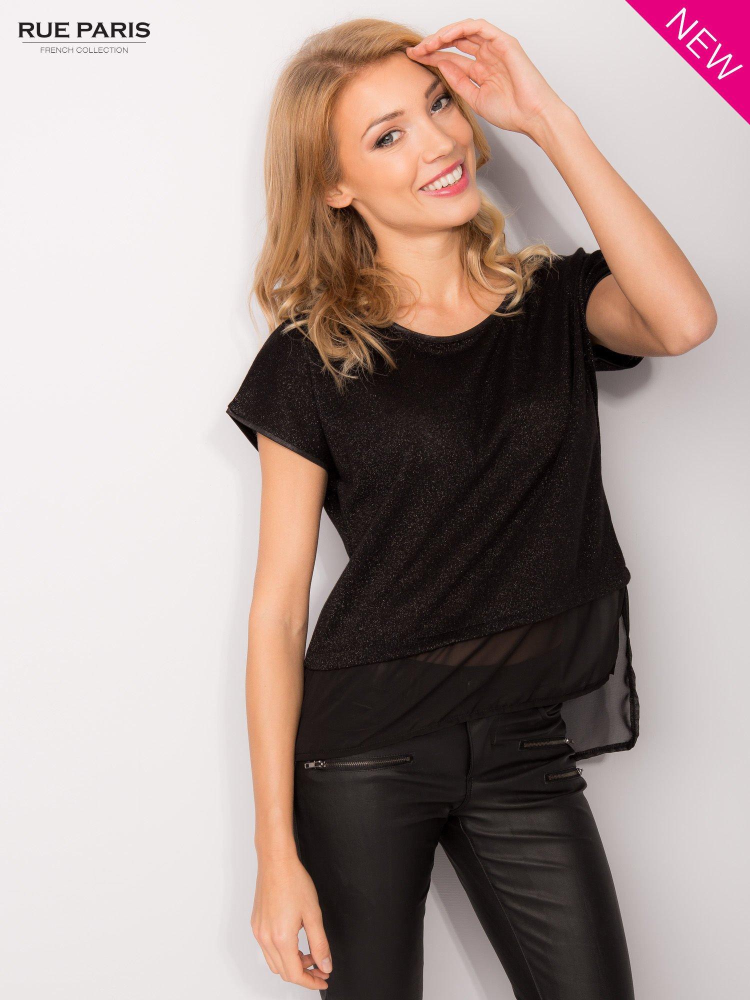 T-shirt z łączonych materiałów z dłuższym tyłem-mgiełką                                  zdj.                                  2