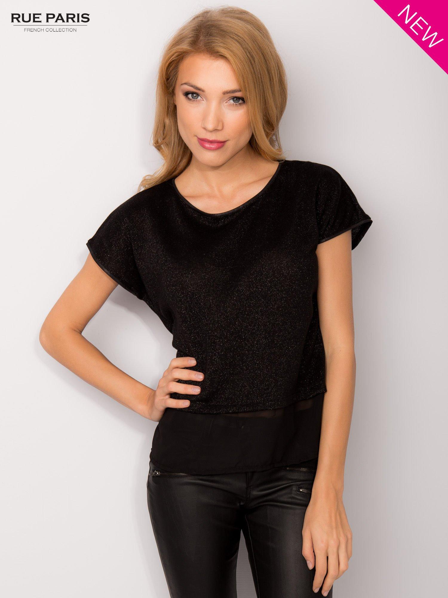 T-shirt z łączonych materiałów z dłuższym tyłem-mgiełką                                  zdj.                                  7