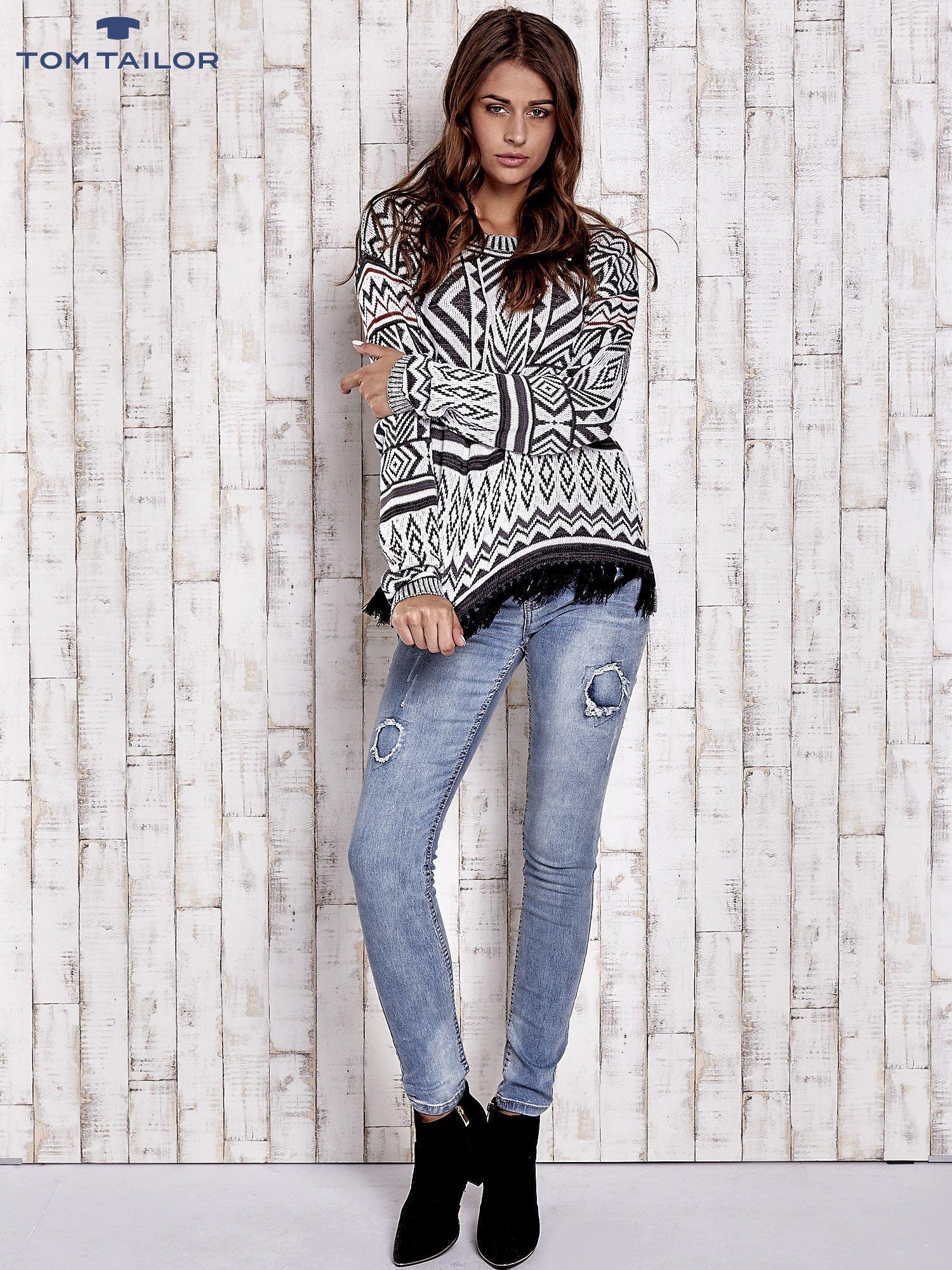 TOM TAILOR Biały sweter w etnicznym stylu z frędzlami                                   zdj.                                  4