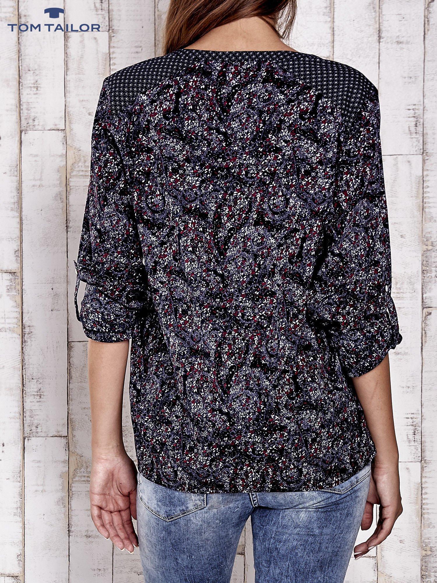 TOM TAILOR Granatowa koszula z podwijanymi rękawami wzór paisley                                  zdj.                                  3