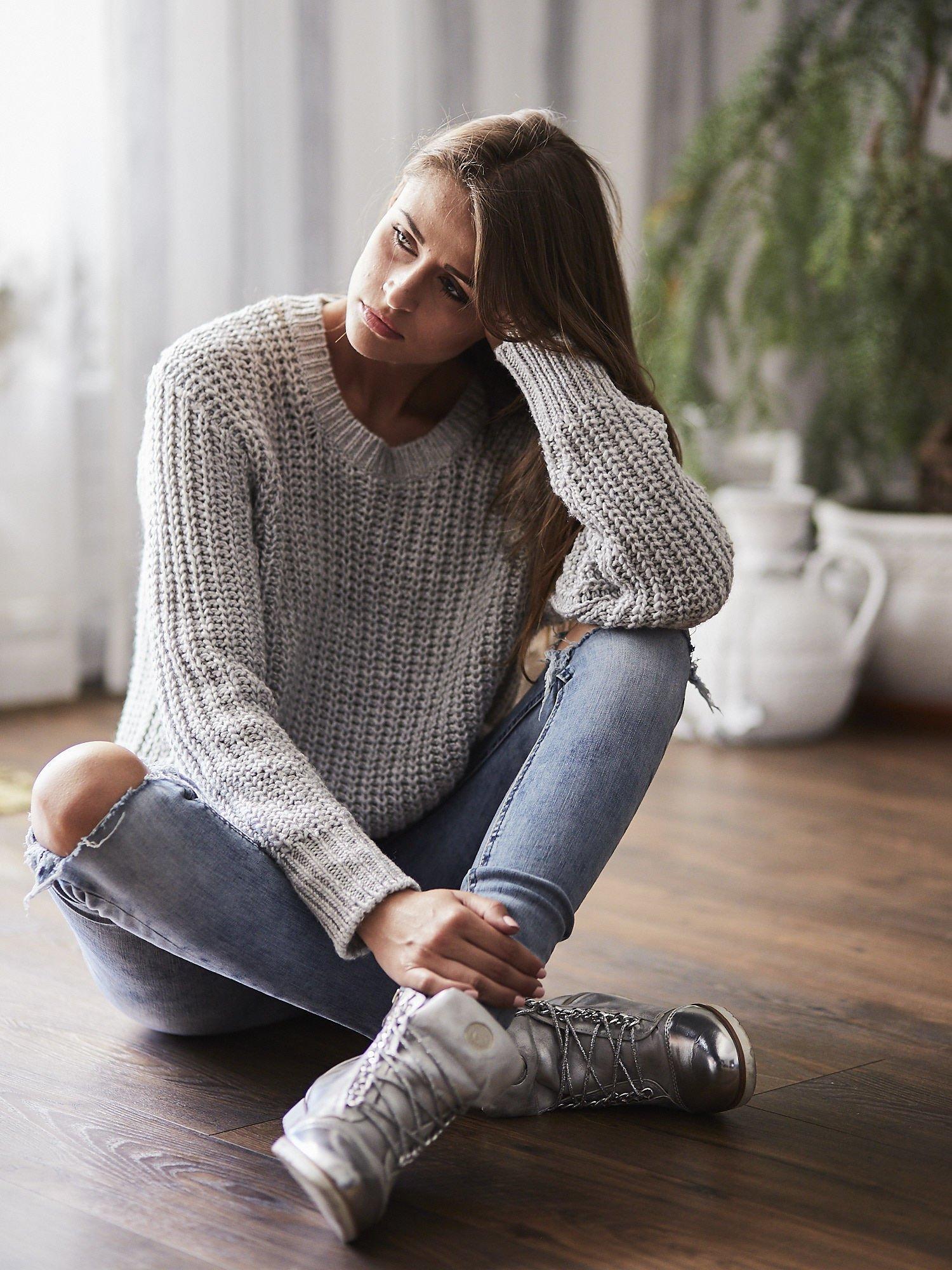 TOM TAILOR Szary wełniany sweter o grubym splocie                                  zdj.                                  9