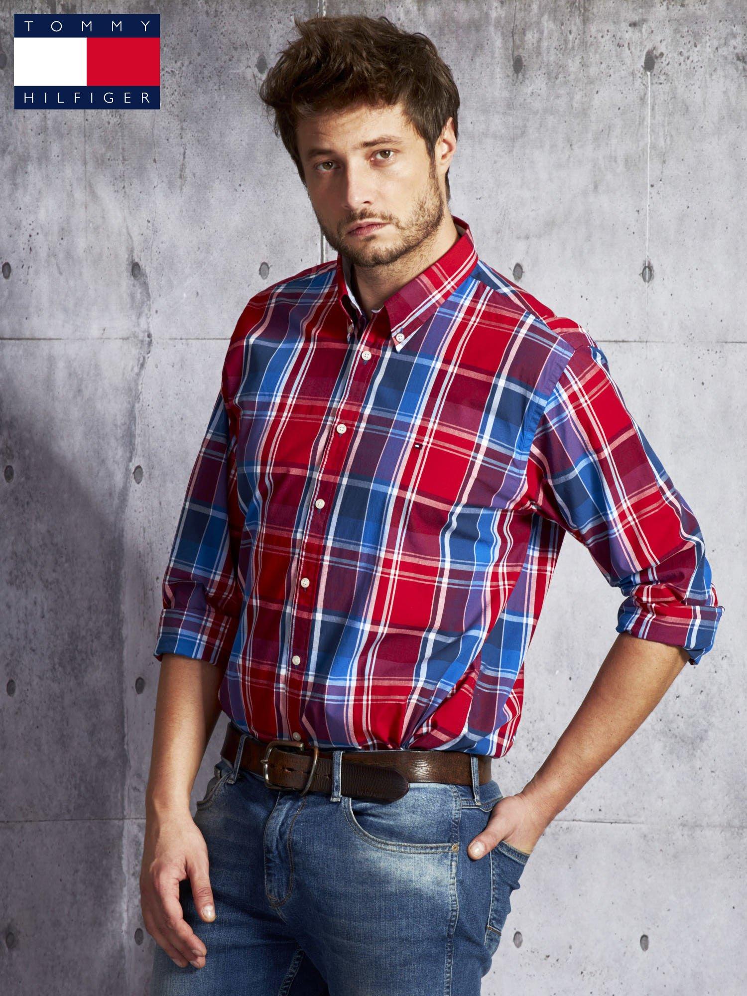 5a0c81b42 TOMMY HILFIGER Czerwona koszula męska w kratę - Mężczyźni koszula ...