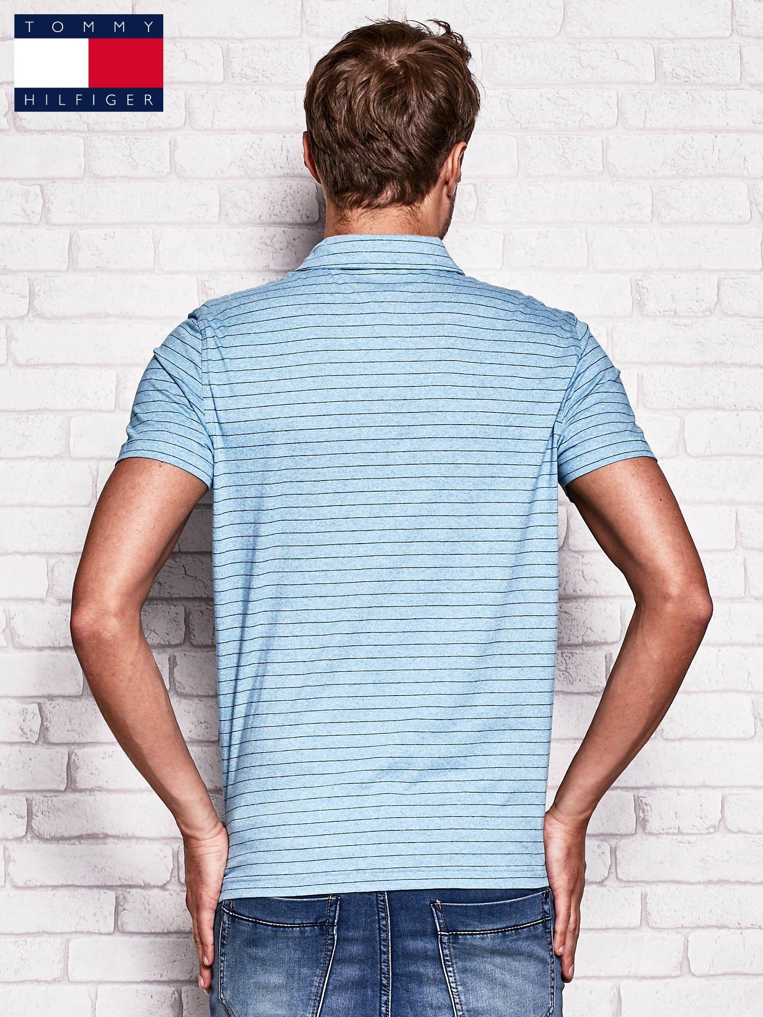 TOMMY HILFIGER Niebieska koszulka polo męska w paski