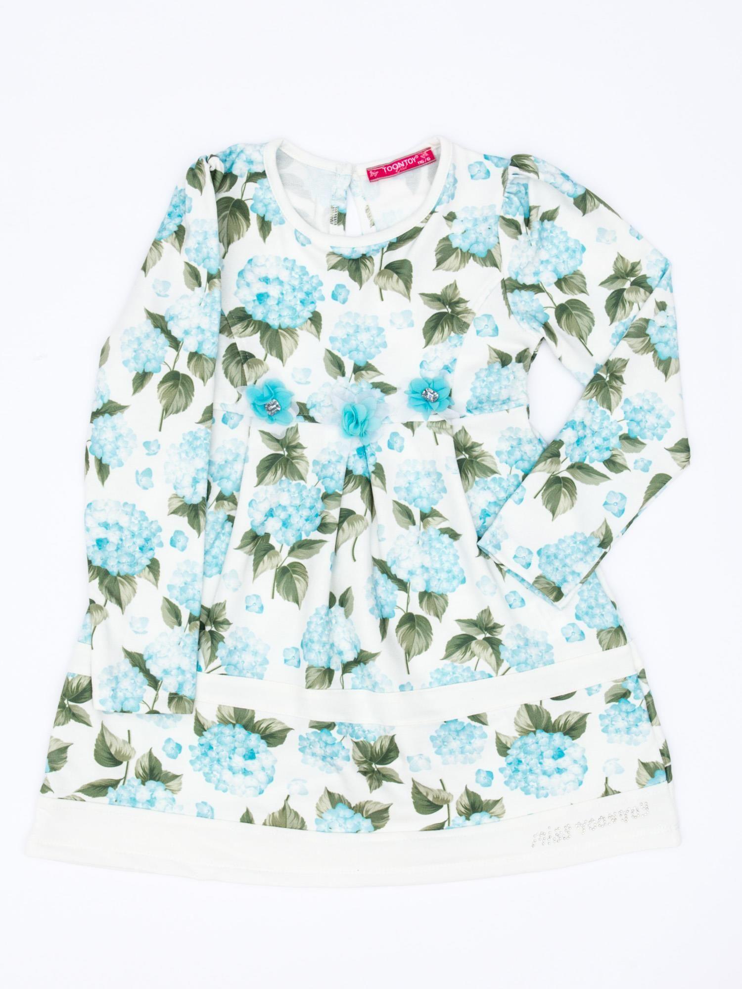 b9b1eb6cc2 Turkusowa sukienka dla dziewczynki w kwiaty z tiulową aplikacją ...