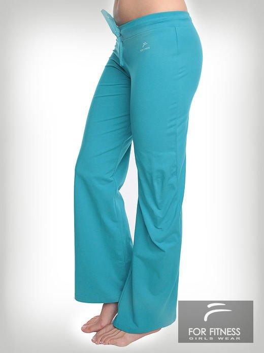 Turkusowe spodnie dresowe z szeroką nogawką FOR FITNESS                                  zdj.                                  1