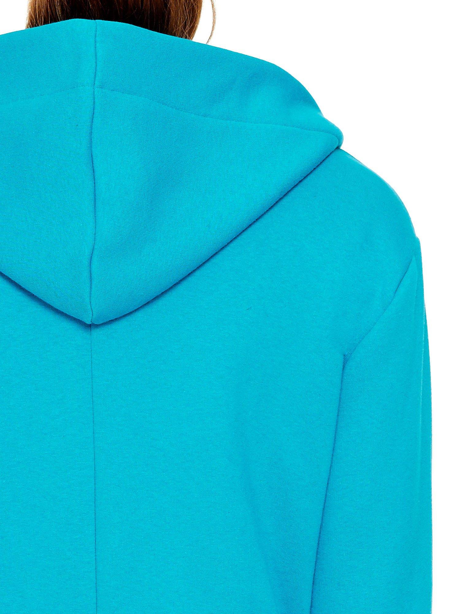 Turkusowy dresowy bluzopłaszcz ściągany w pasie                                  zdj.                                  8