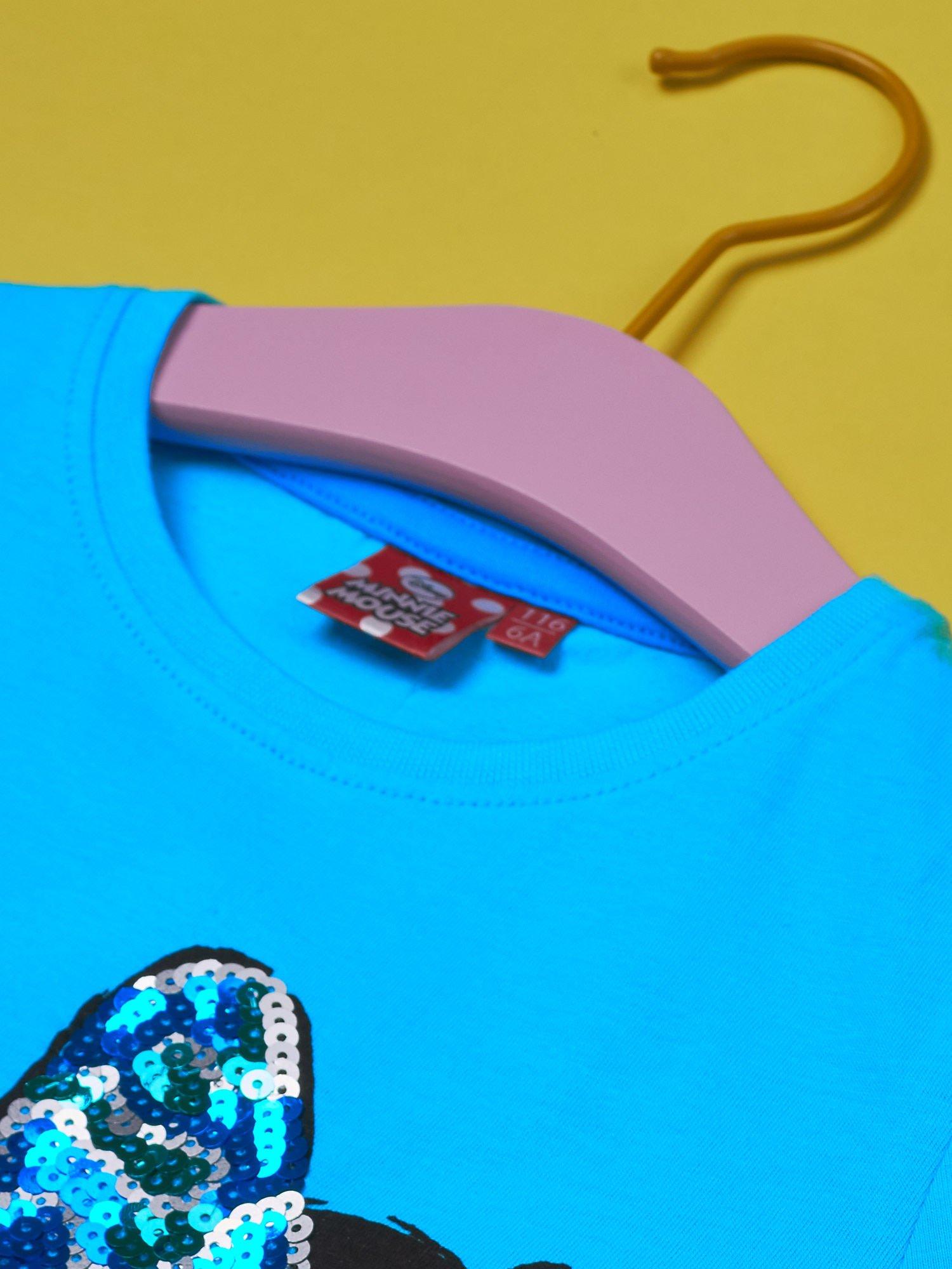 Turkusowy t-shirt dla dziewczynki z cekinami MYSZKA MIKI                                  zdj.                                  4