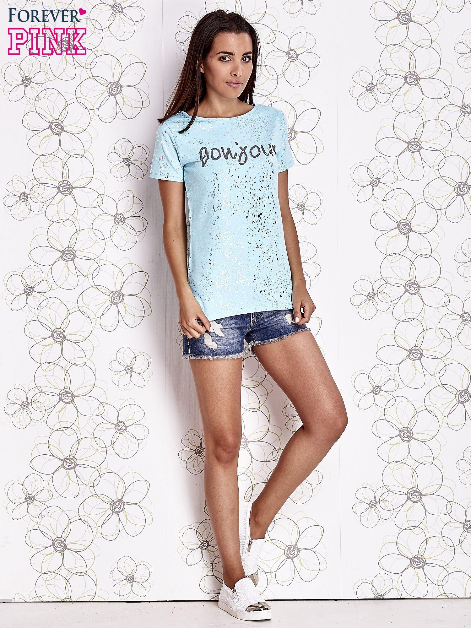 Turkusowy t-shirt z napisem BONJOUR                                  zdj.                                  2