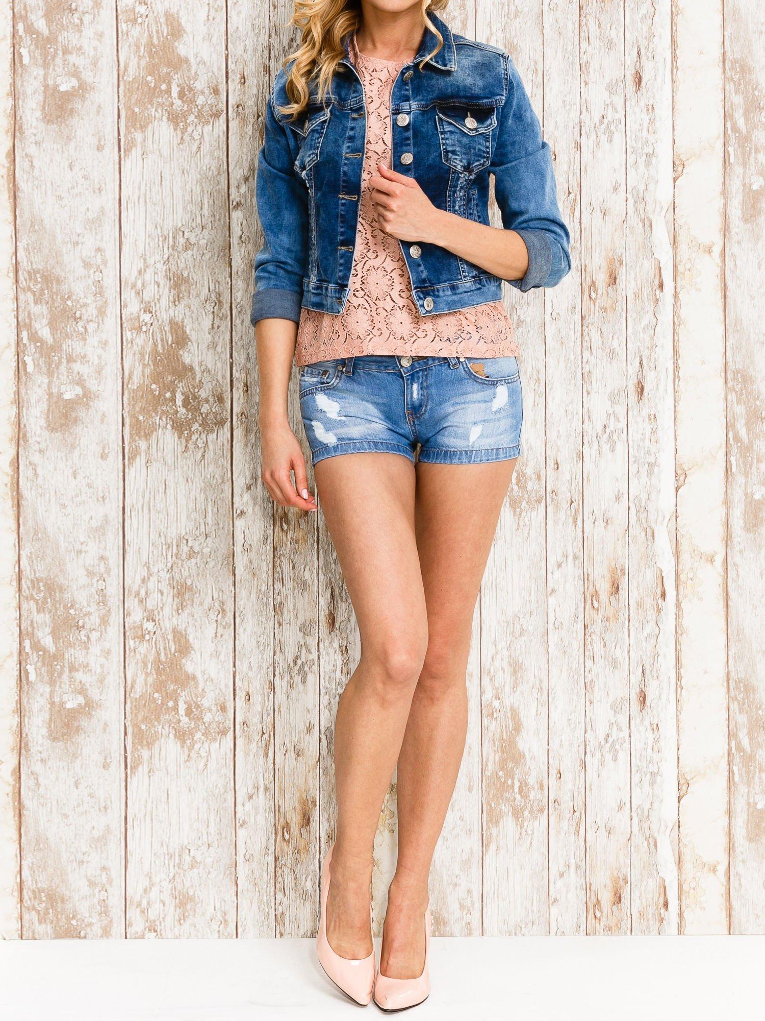 VERO MODA Różowy ażurowy t-shirt                                  zdj.                                  2
