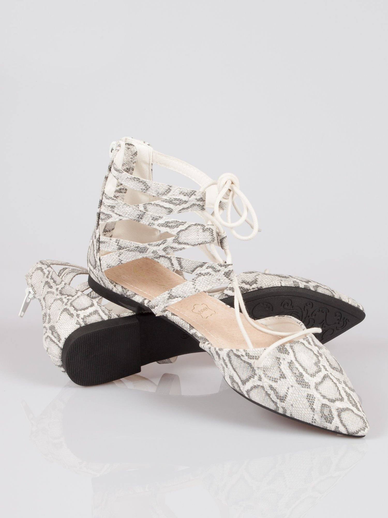 Wężowe baleriny faux suede Taylor lace up z wiązaniem                                  zdj.                                  3