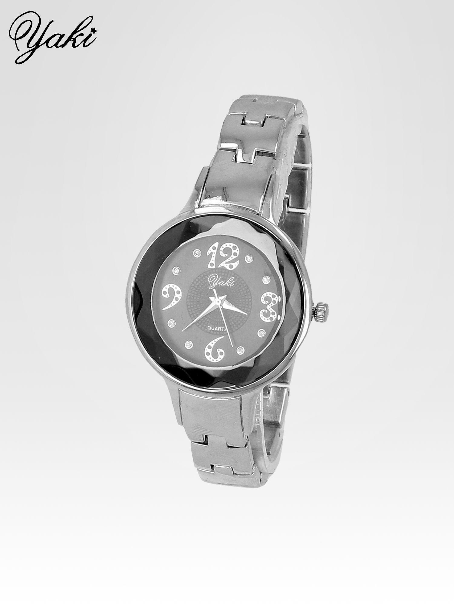 Zegarek damski na bransolecie z okrągłą kopertą z cyrkoniami w kolorze srebra                                  zdj.                                  2