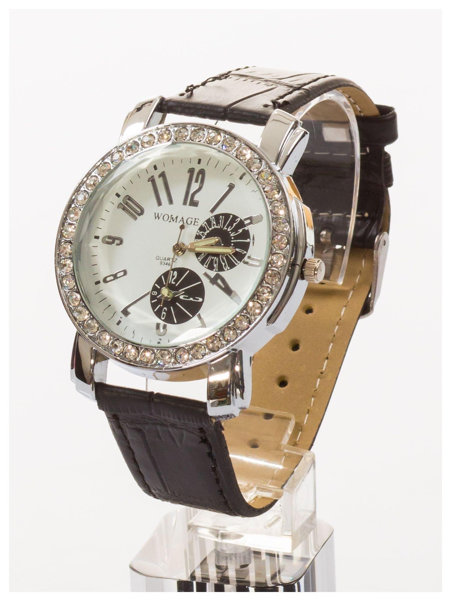 Zegarek damski na skórzanym pasku. Duży + cyrkonie                                  zdj.                                  2