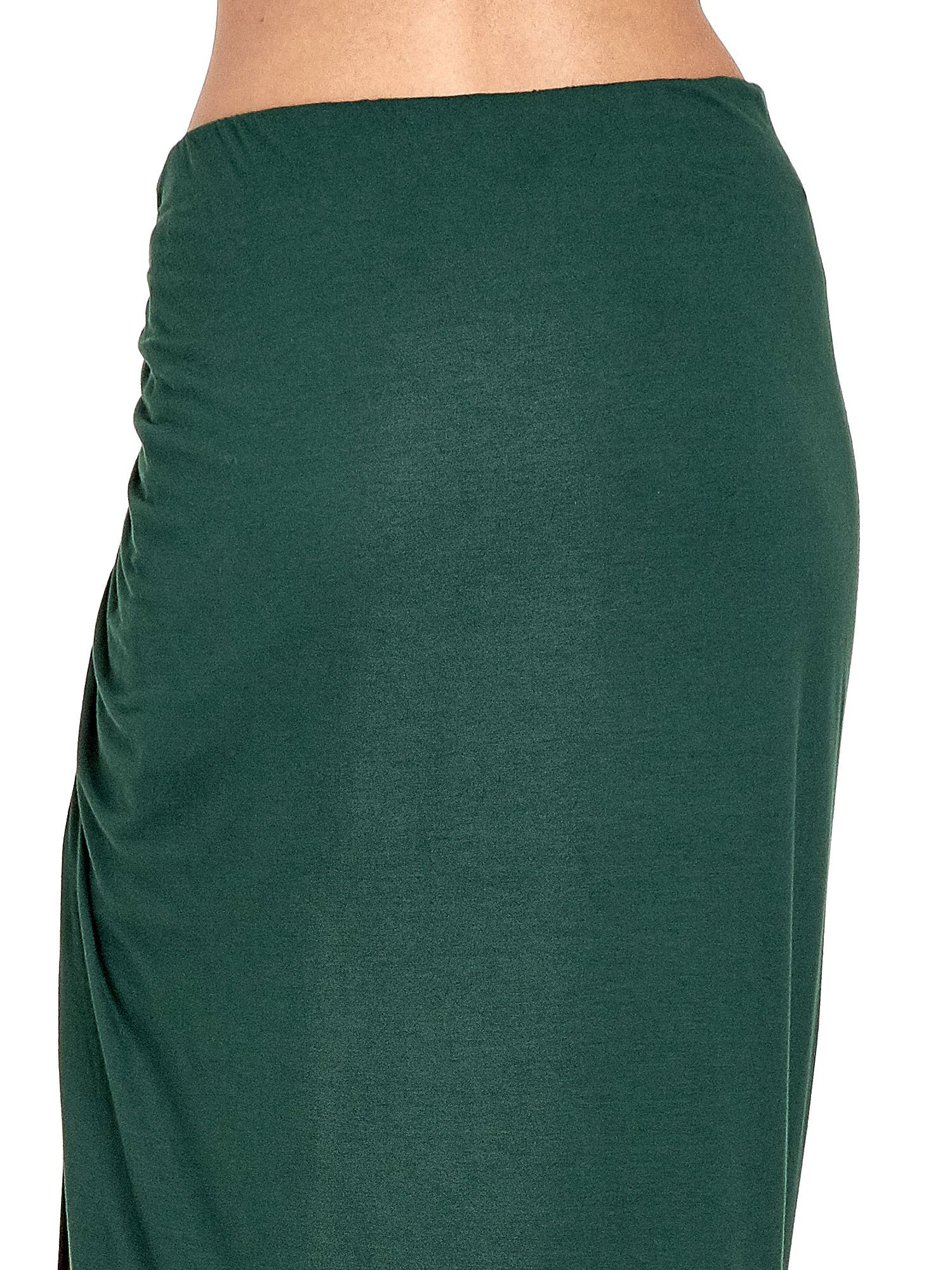 Zielona asymetryczna spódnica maxi z drapowaniem i rozporkiem z boku                                  zdj.                                  7