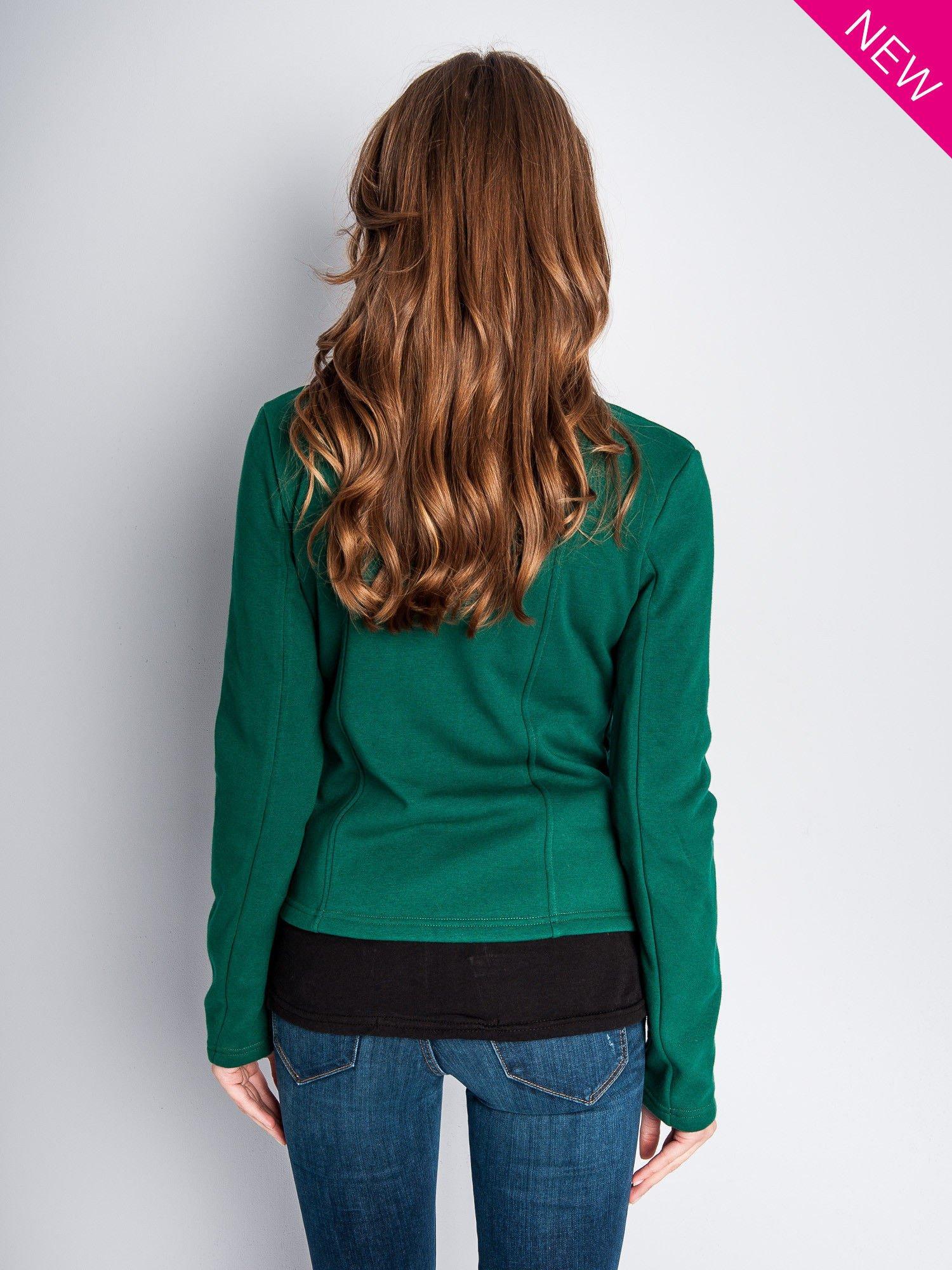 Zielona bluza o kroju ramoneski z asymetrycznym suwakiem                                  zdj.                                  10