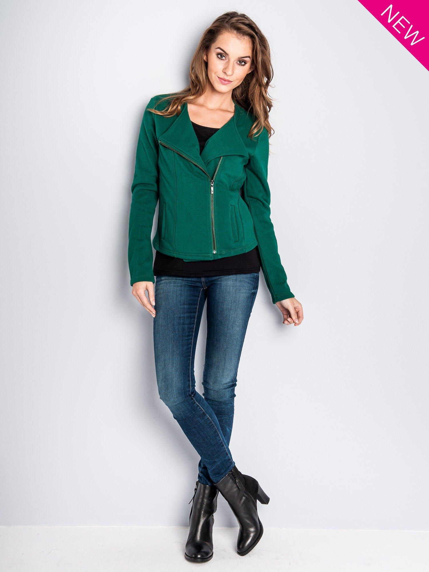 Zielona bluza o kroju ramoneski z asymetrycznym suwakiem                                  zdj.                                  3