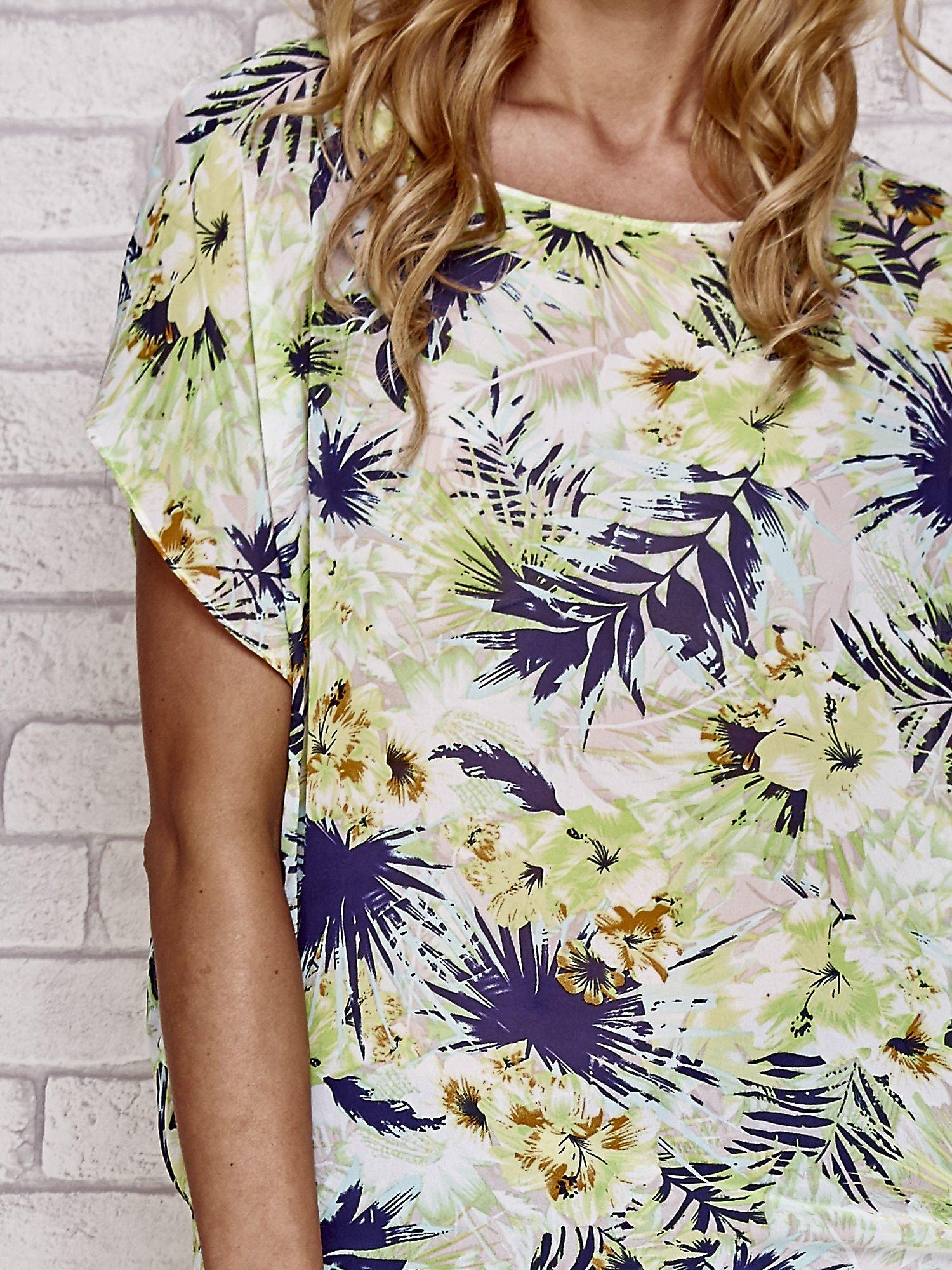 Zielona bluzka koszulowa z motywem exotic print                                  zdj.                                  4