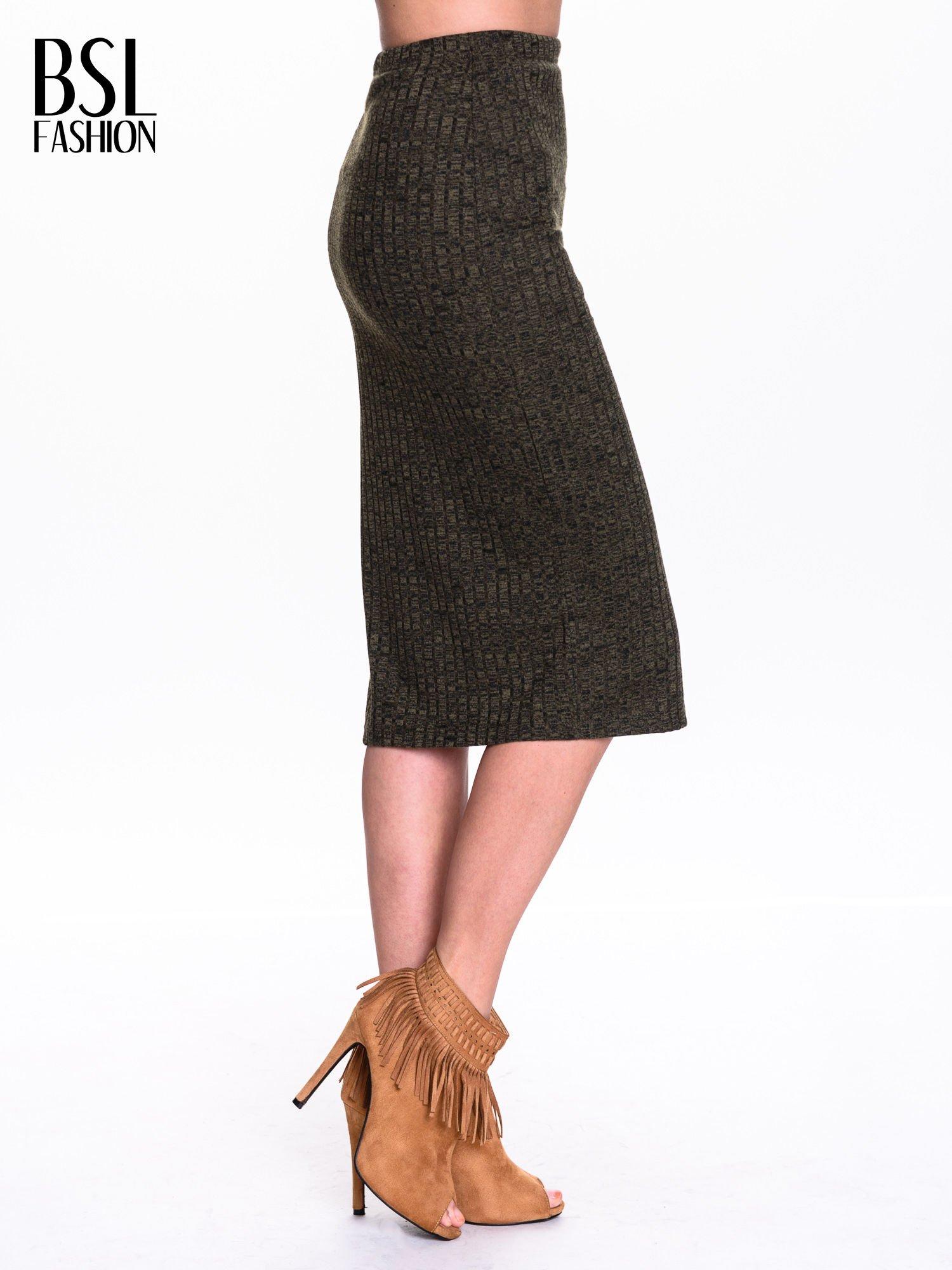 Zielona dzianinowa spódnica za kolono                                  zdj.                                  3