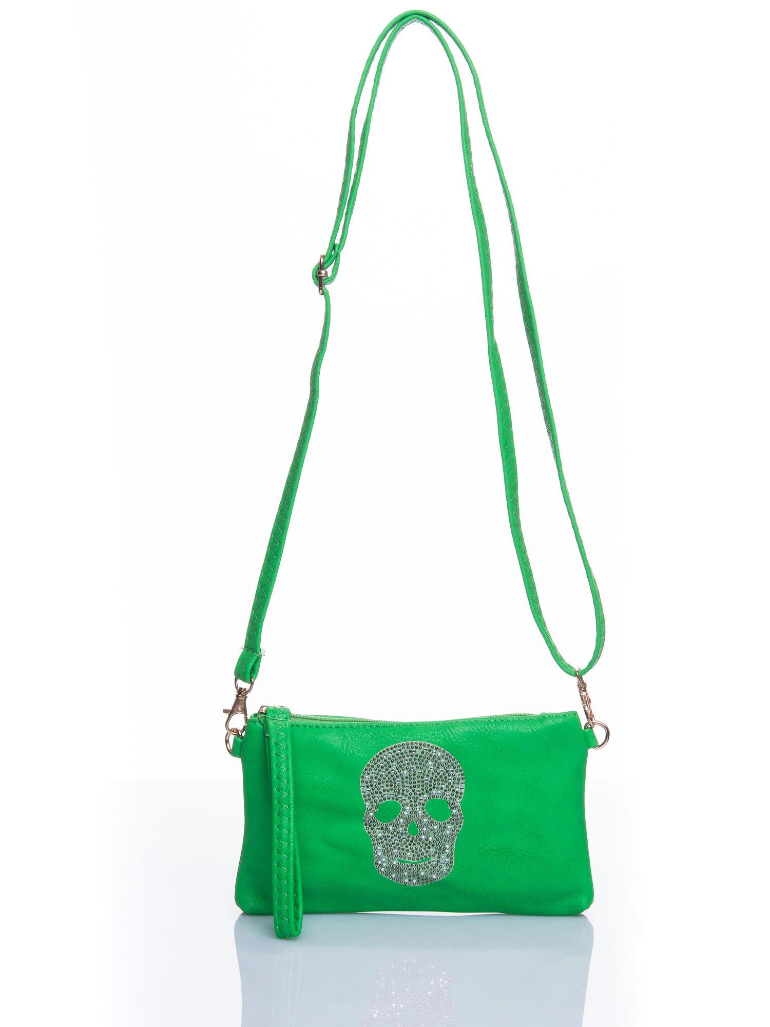 Zielona kopertówka z dżetami motyw czaszki                                  zdj.                                  5