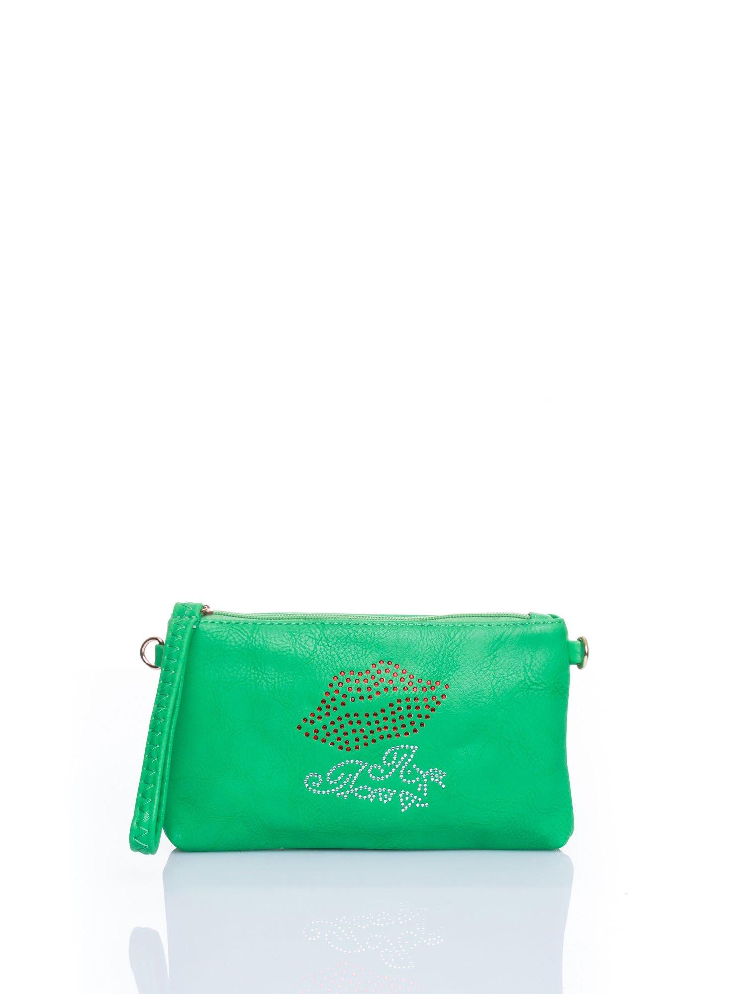 Zielona kopertówka z dżetami motyw ust                                  zdj.                                  1