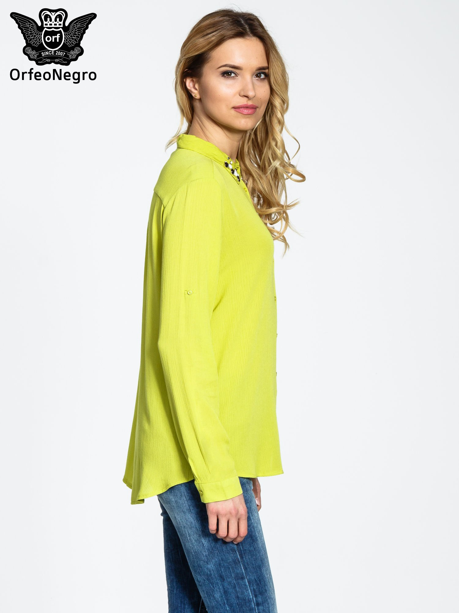 Zielona koszula z biżuteryjnym kołnierzykiem                                  zdj.                                  3
