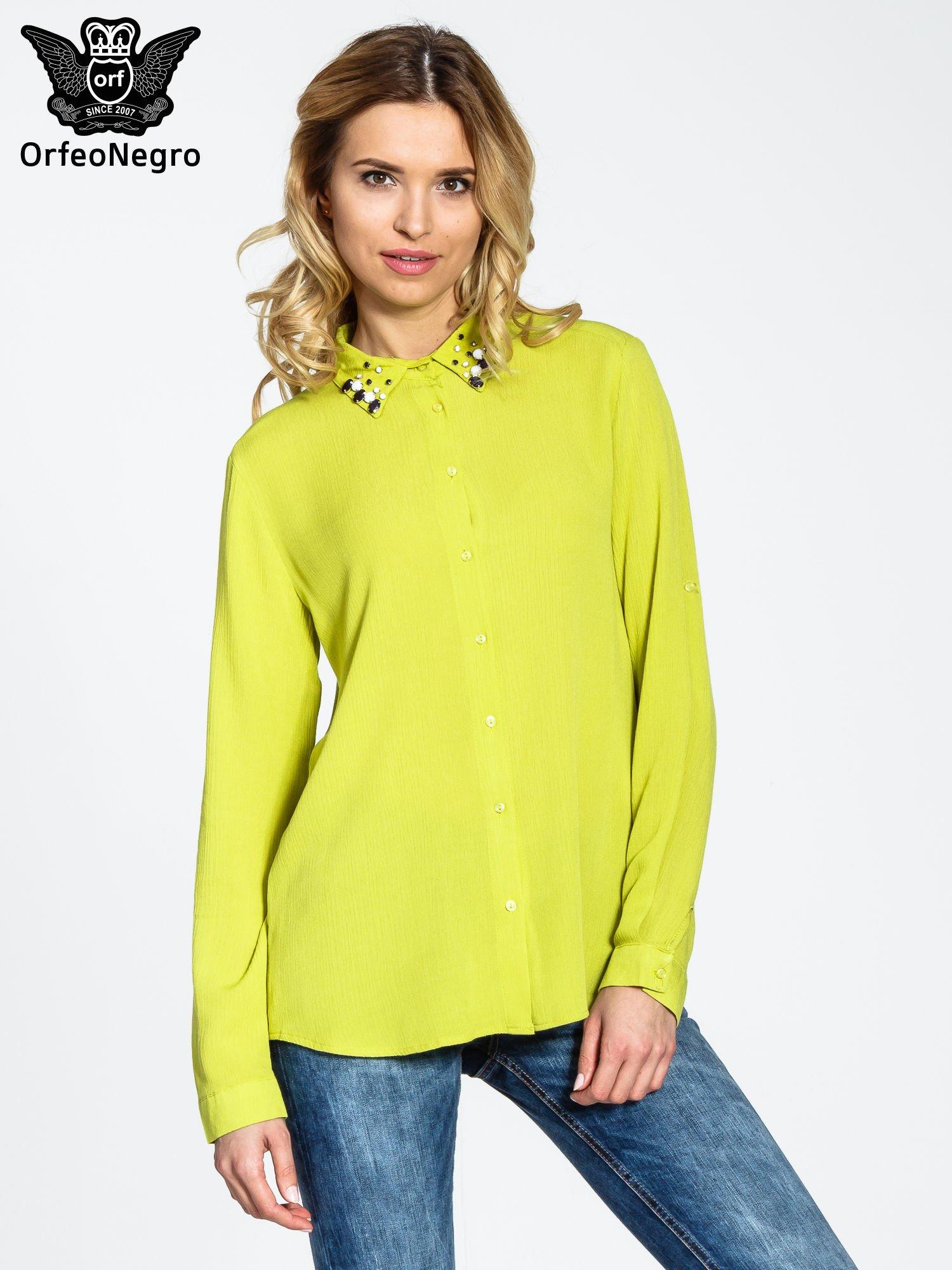 Zielona koszula z biżuteryjnym kołnierzykiem                                  zdj.                                  1