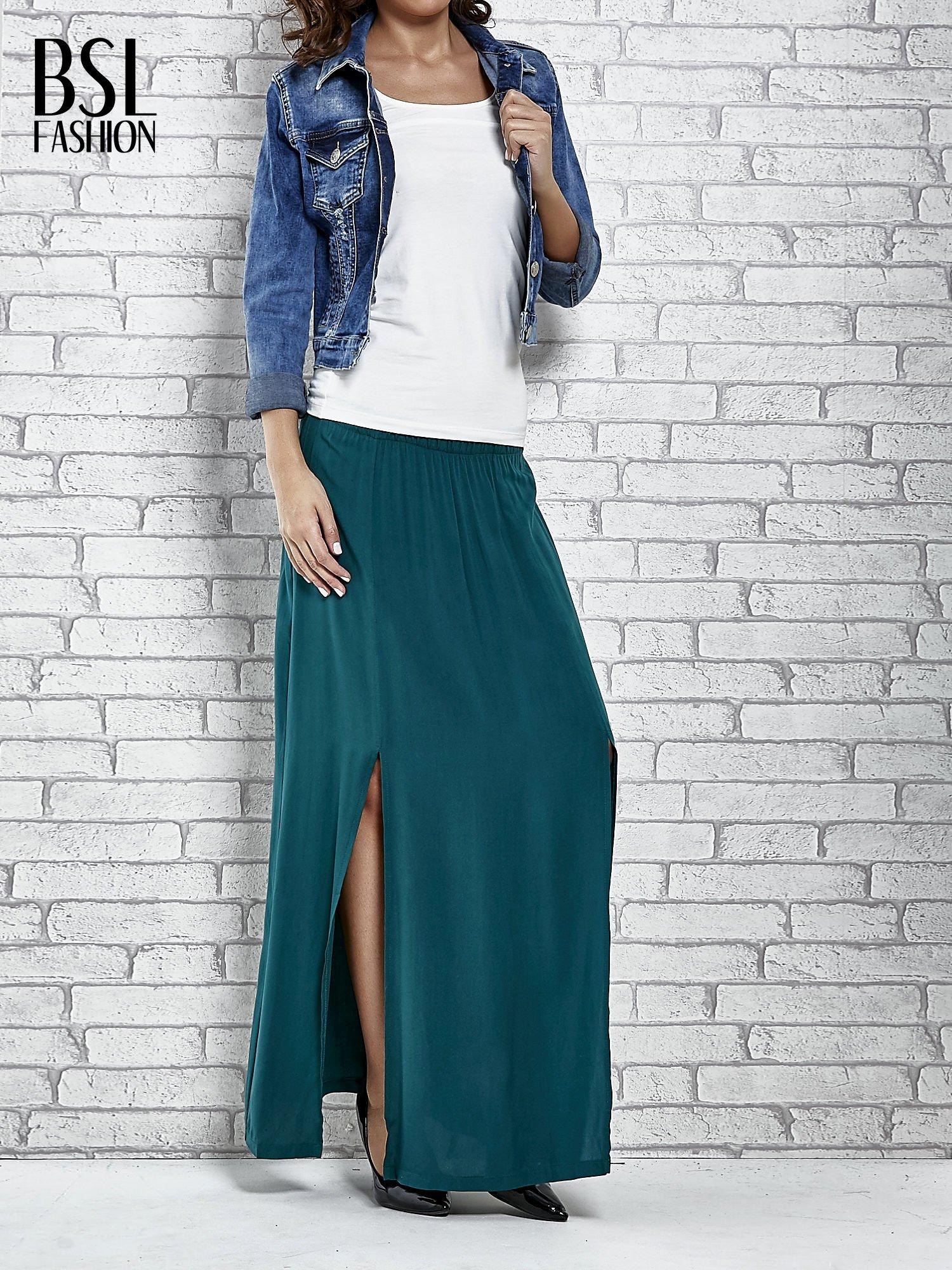 Zielona spódnica maxi z rozporkami z przodu                                  zdj.                                  2
