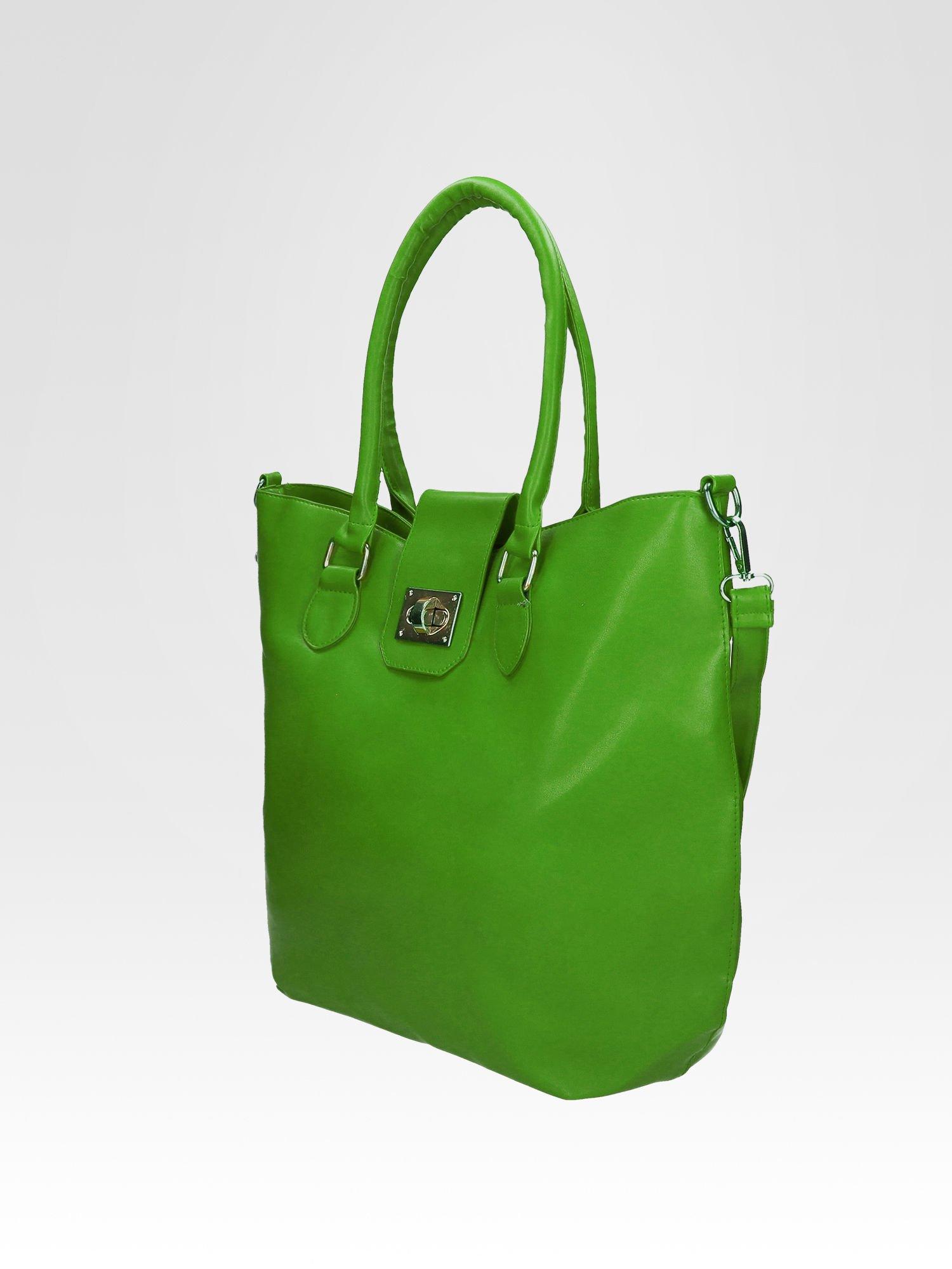 Zielona torebka city bag z zatrzaskiem                                  zdj.                                  6