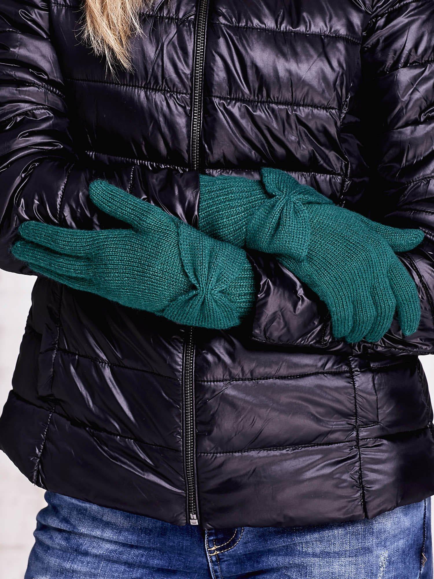 Zielone długie rękawiczki z kokardą i prążkowanym ściągaczem                                  zdj.                                  2