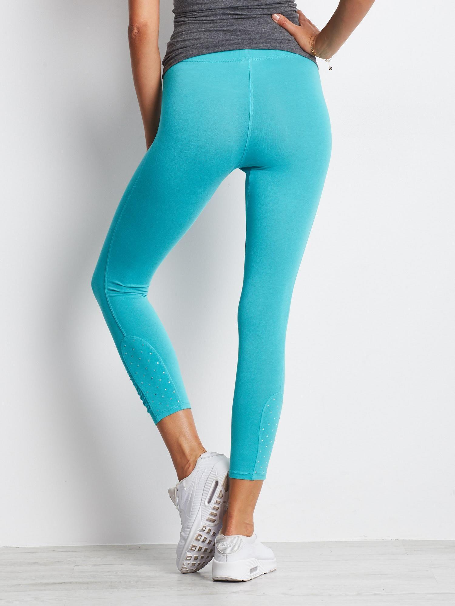 Zielone legginsy sportowe z aplikacją z dżetów na nogawkach                                  zdj.                                  6