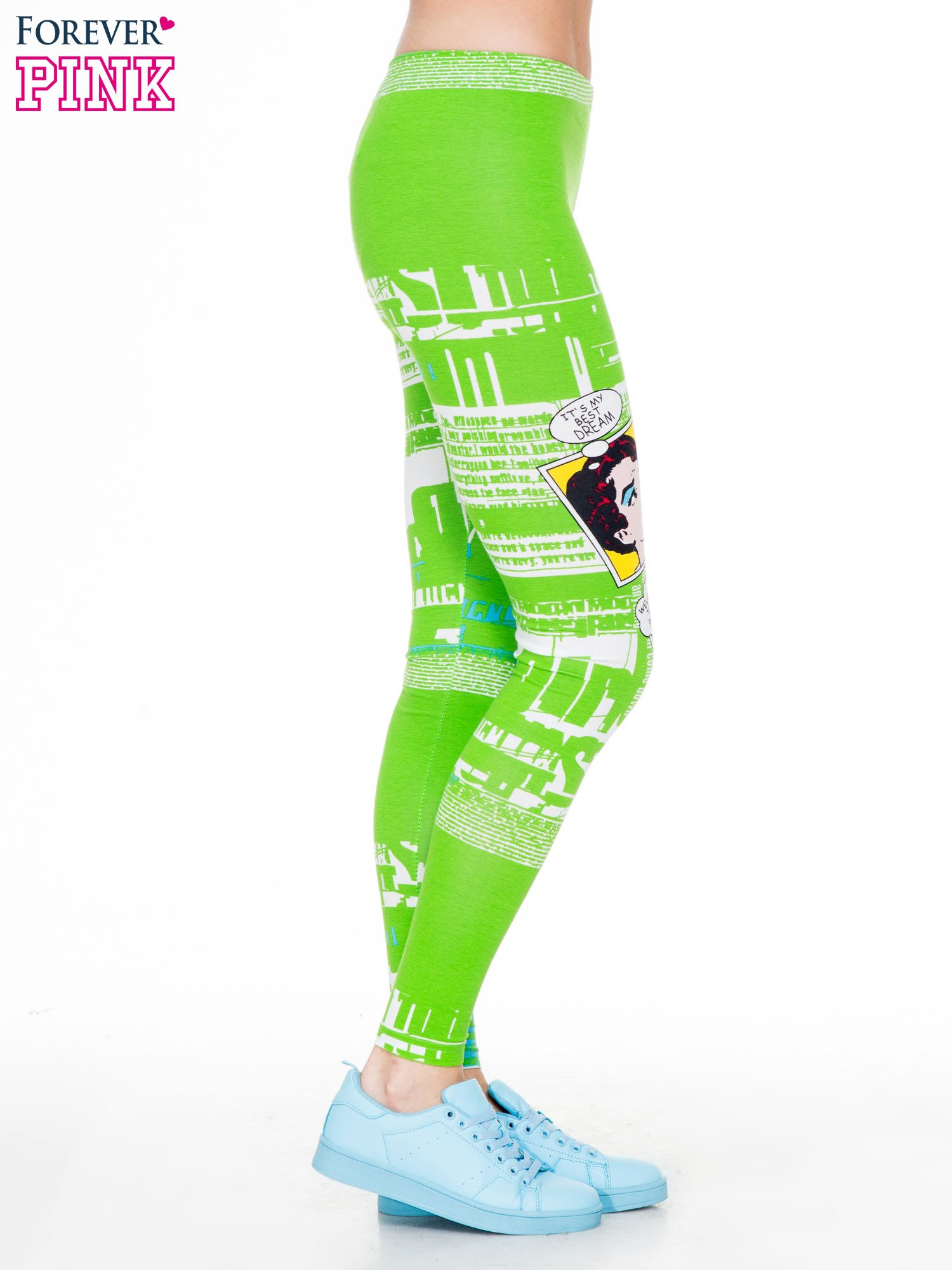 Zielone legginsy z nadrukiem komiksowym                                  zdj.                                  3
