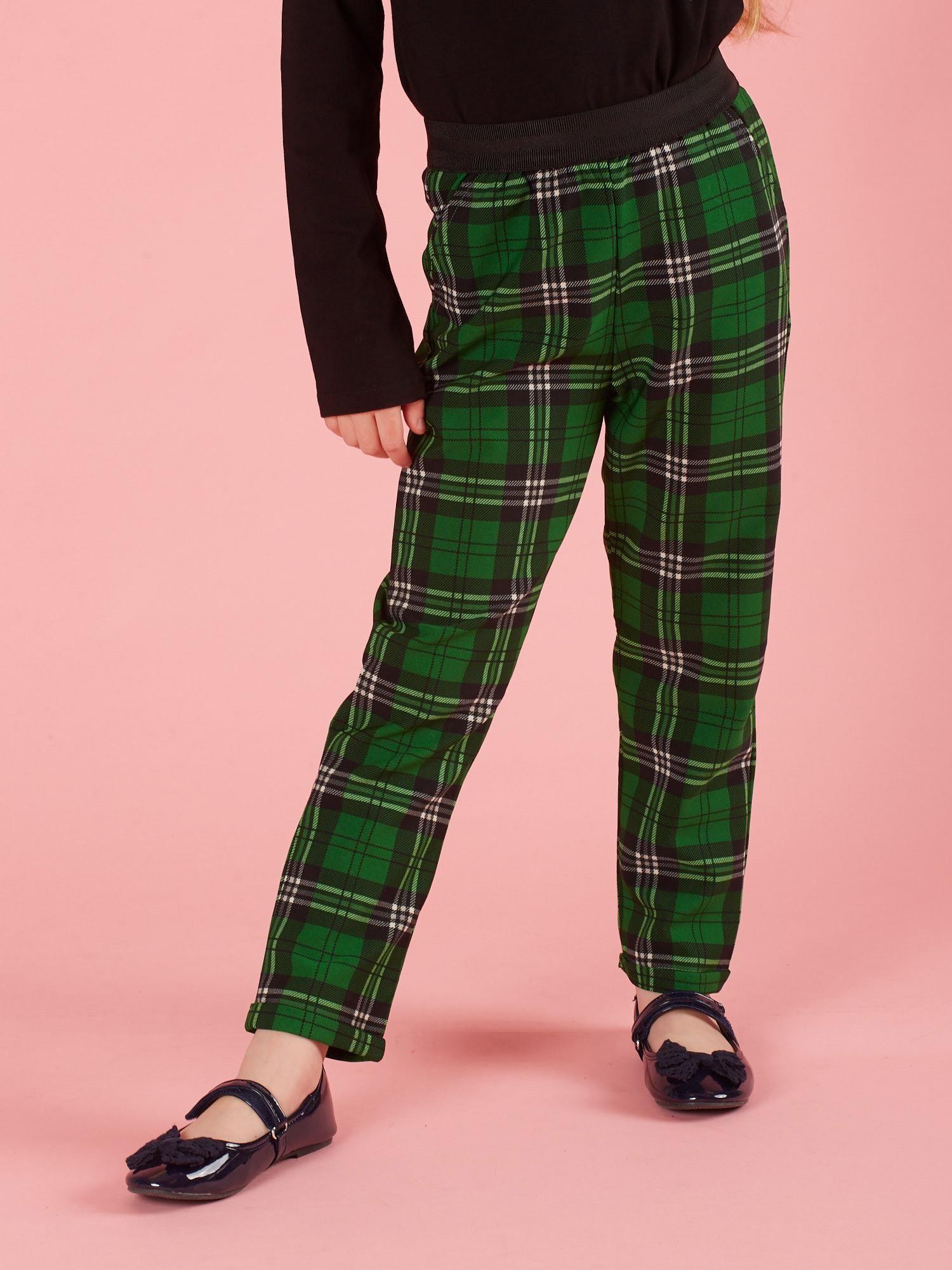 Zielone spodnie dziewczęce w kratę