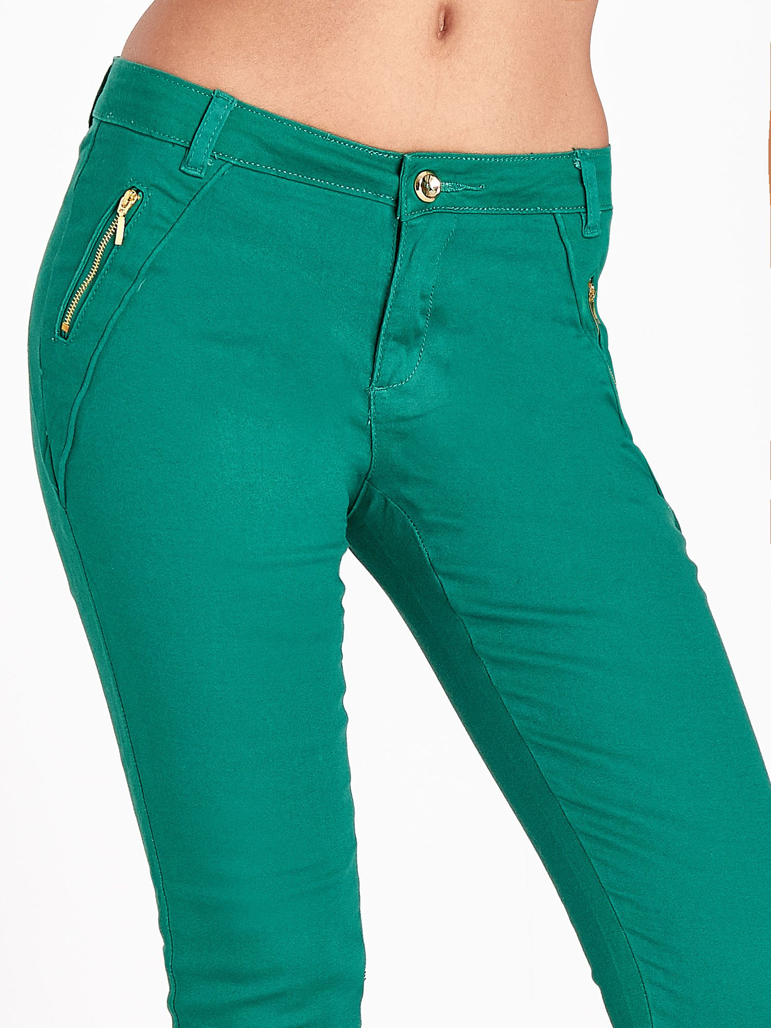 Zielone spodnie ze złotymi suwakami                                  zdj.                                  6