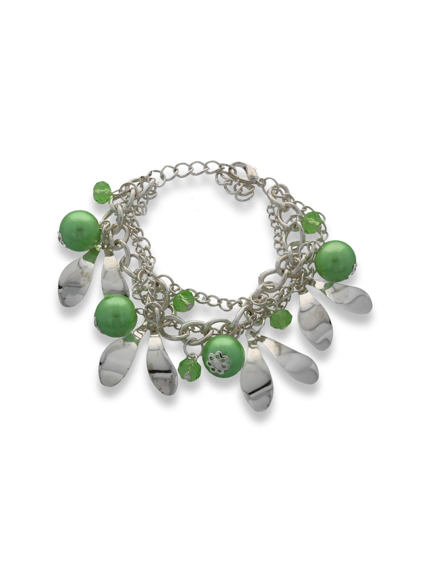 Zielono - srebrna Bransoletka z zawieszkami                                  zdj.                                  1