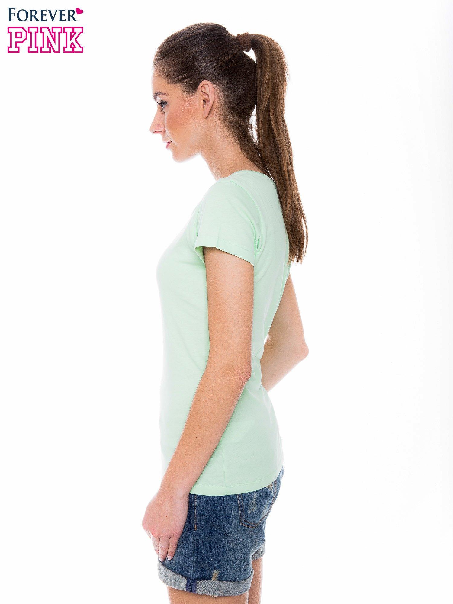 Zielony basicowy t-shirt z okrągłym dekoltem                                  zdj.                                  2