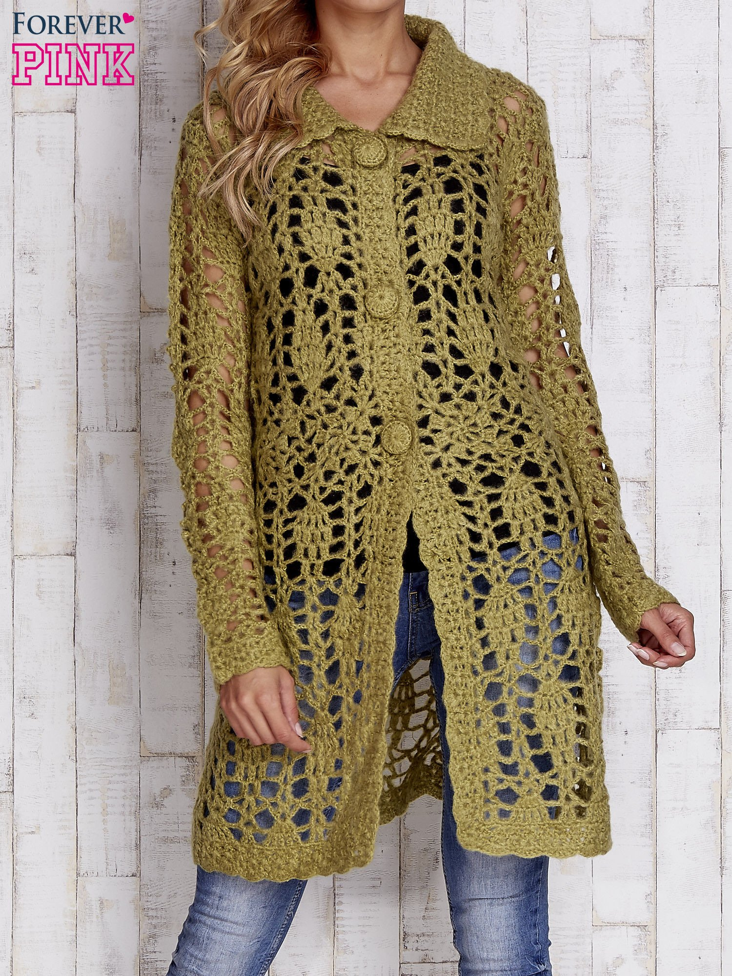 Zielony długi sweter na guziki                                  zdj.                                  1