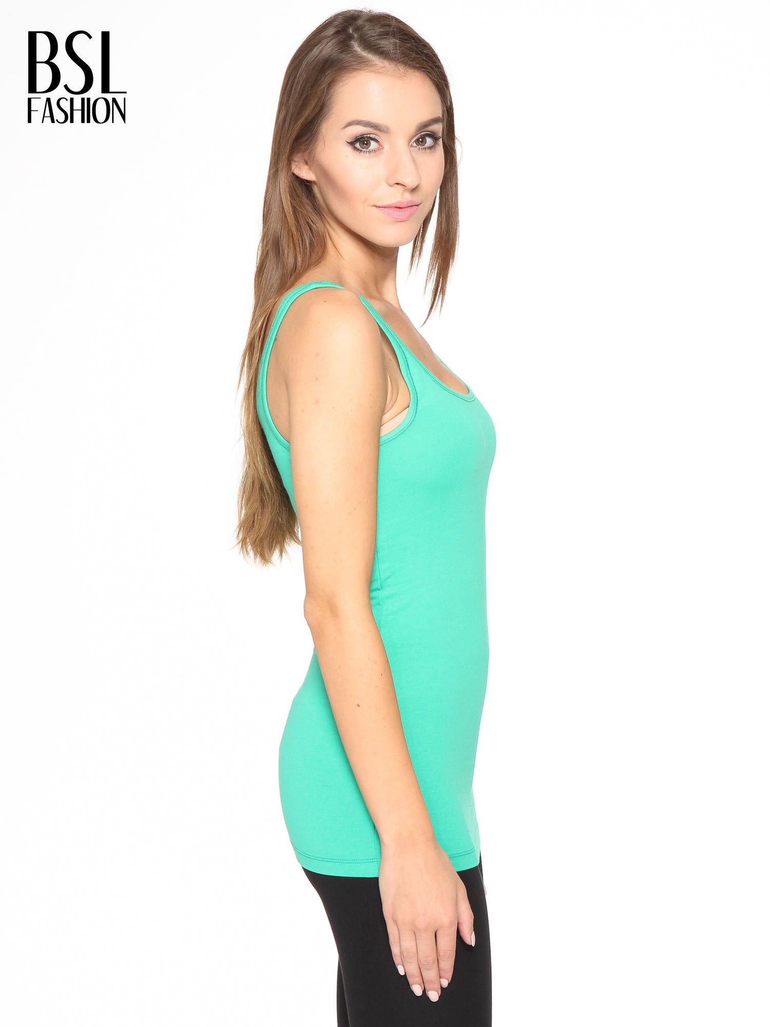 Zielony gładki top na szerokich ramiączkach                                  zdj.                                  3