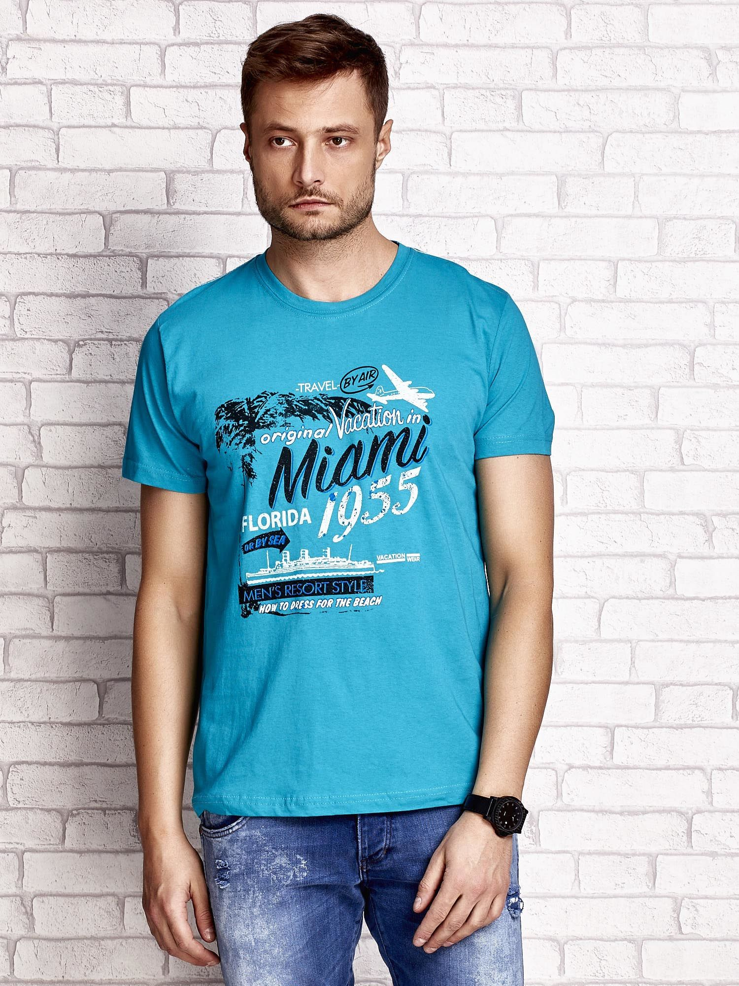 Zielony t-shirt męski z nadrukiem napisów MIAMI FLORIDA 1955                                  zdj.                                  1