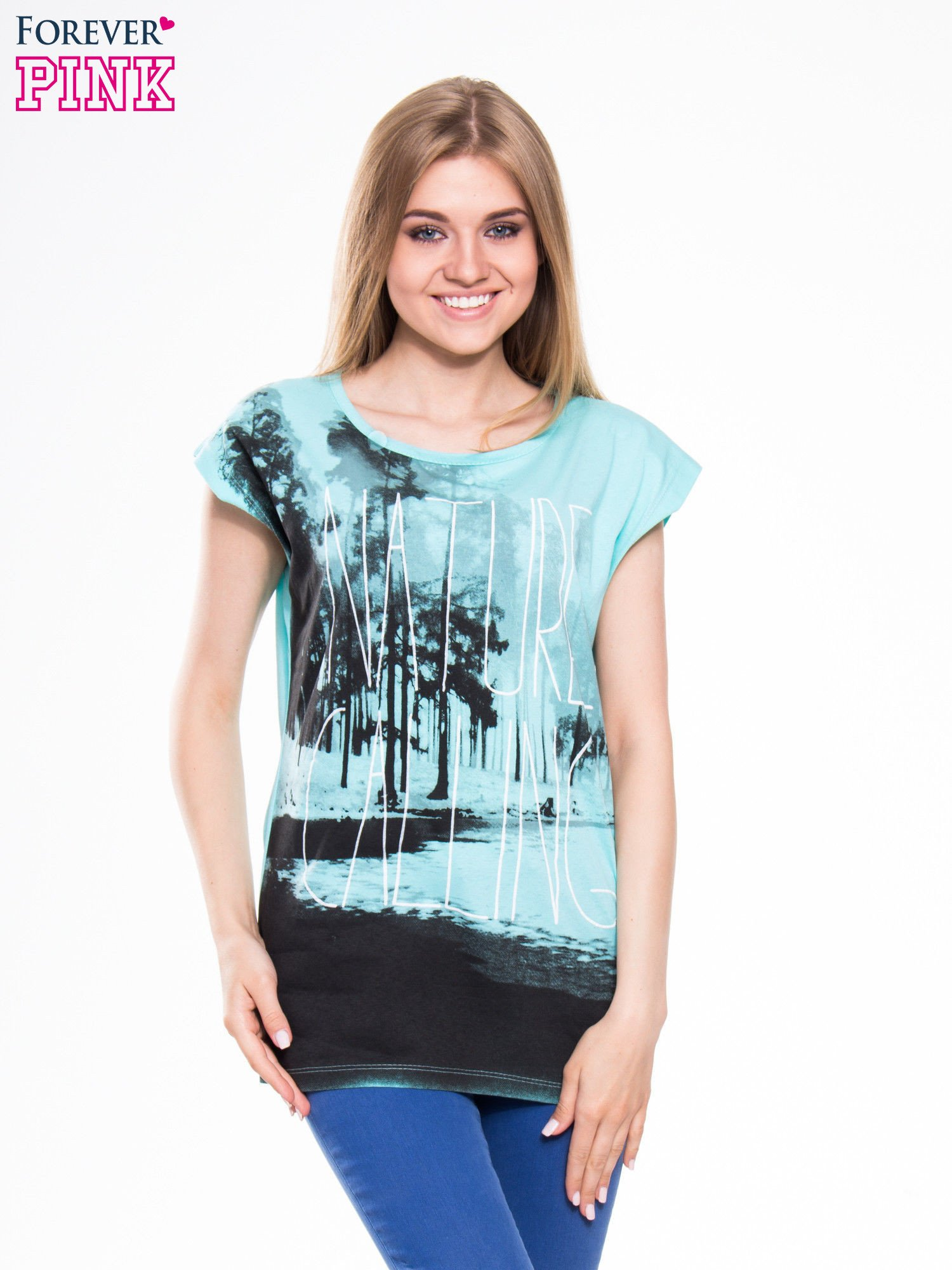 Zielony t-shirt z nadrukiem NATURE                                  zdj.                                  1