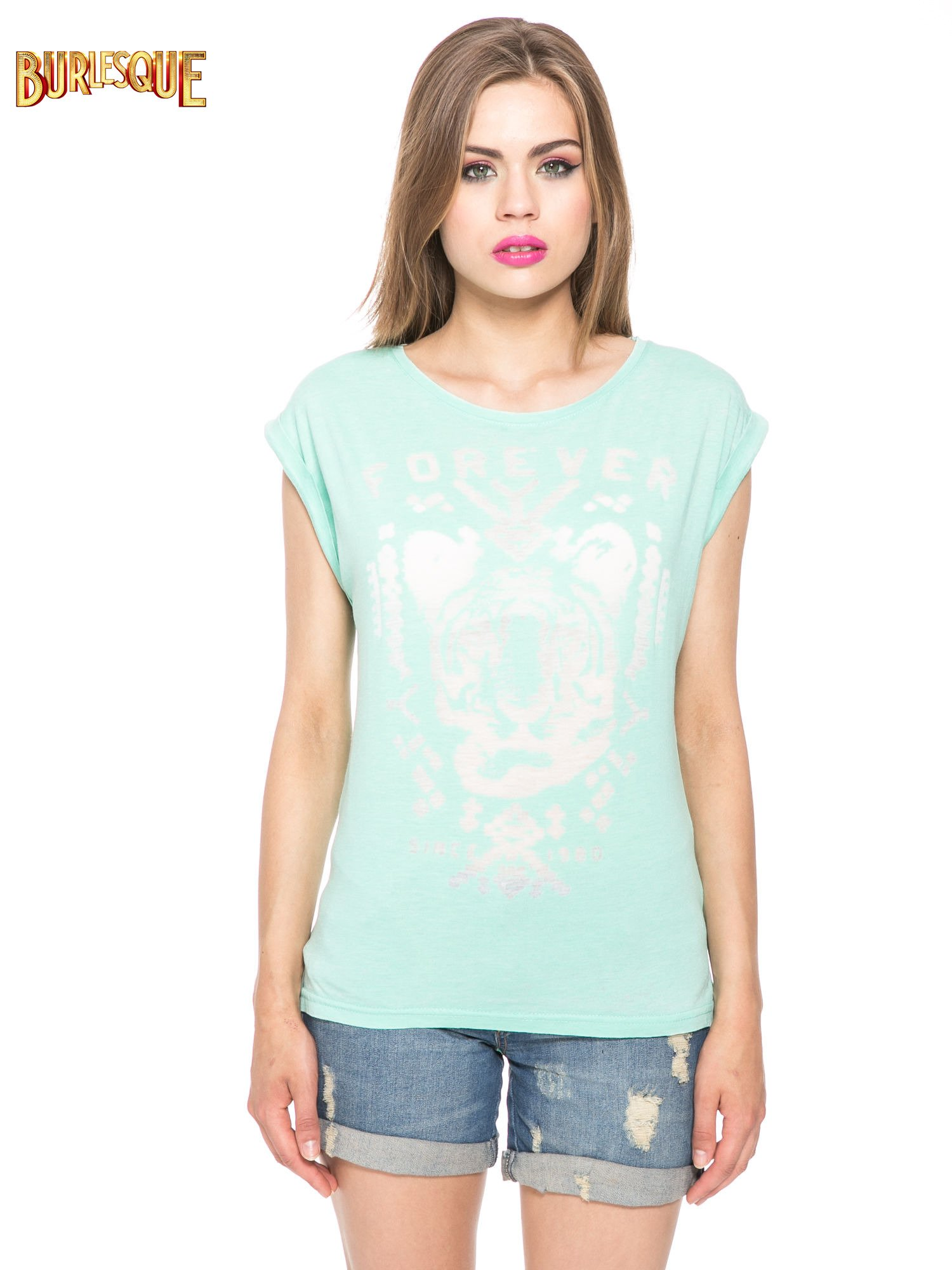 Zielony t-shirt z napisem FOREVER i nadrukiem tygrysa                                  zdj.                                  12