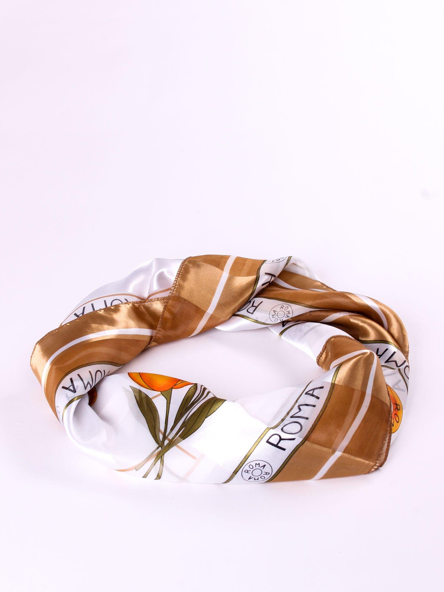 Złota chusta apaszka z nadrukiem ROMA                                  zdj.                                  2
