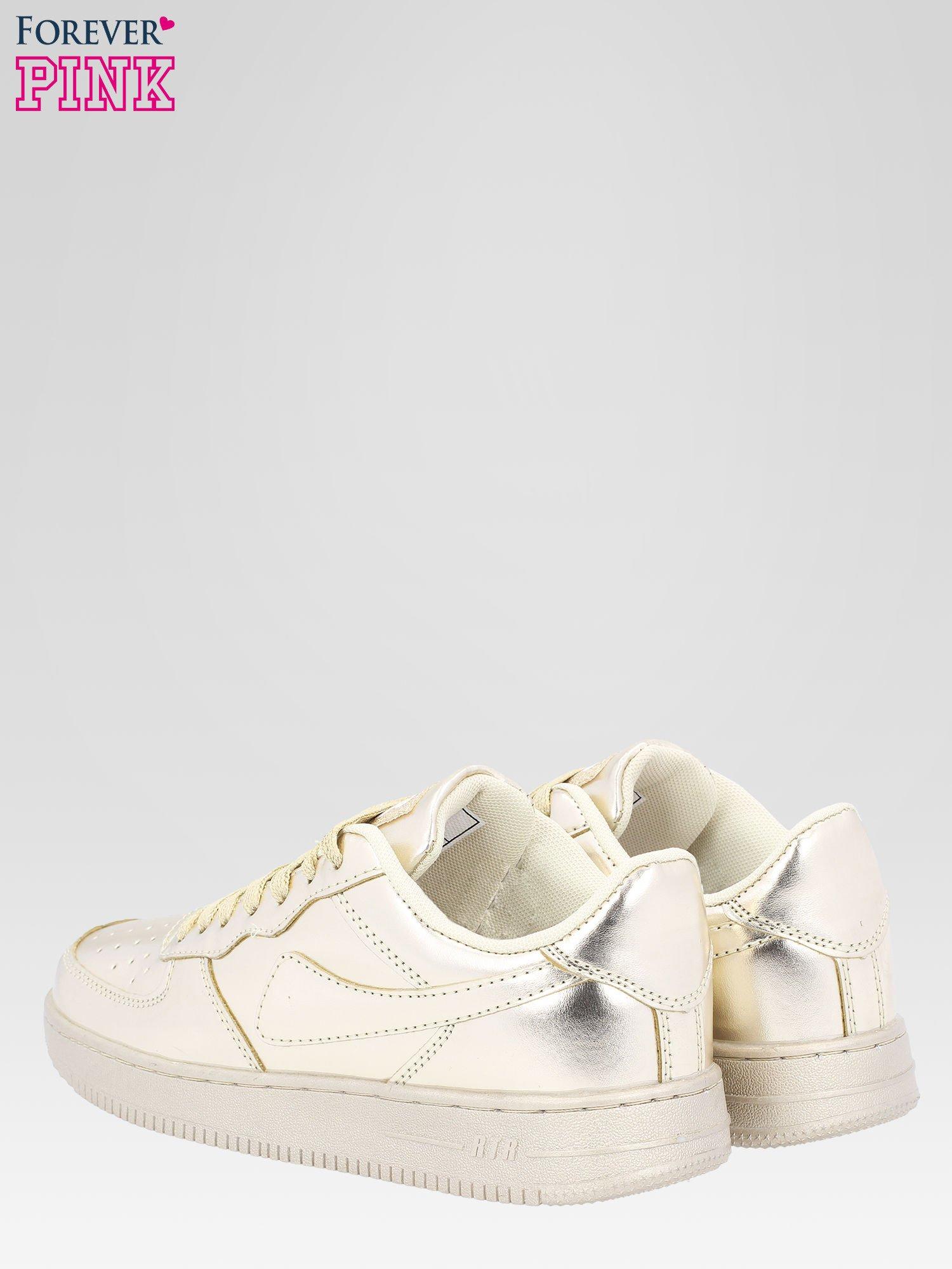 Złote buty sportowe faux leather Mousse na grubej podeszwie                                  zdj.                                  5
