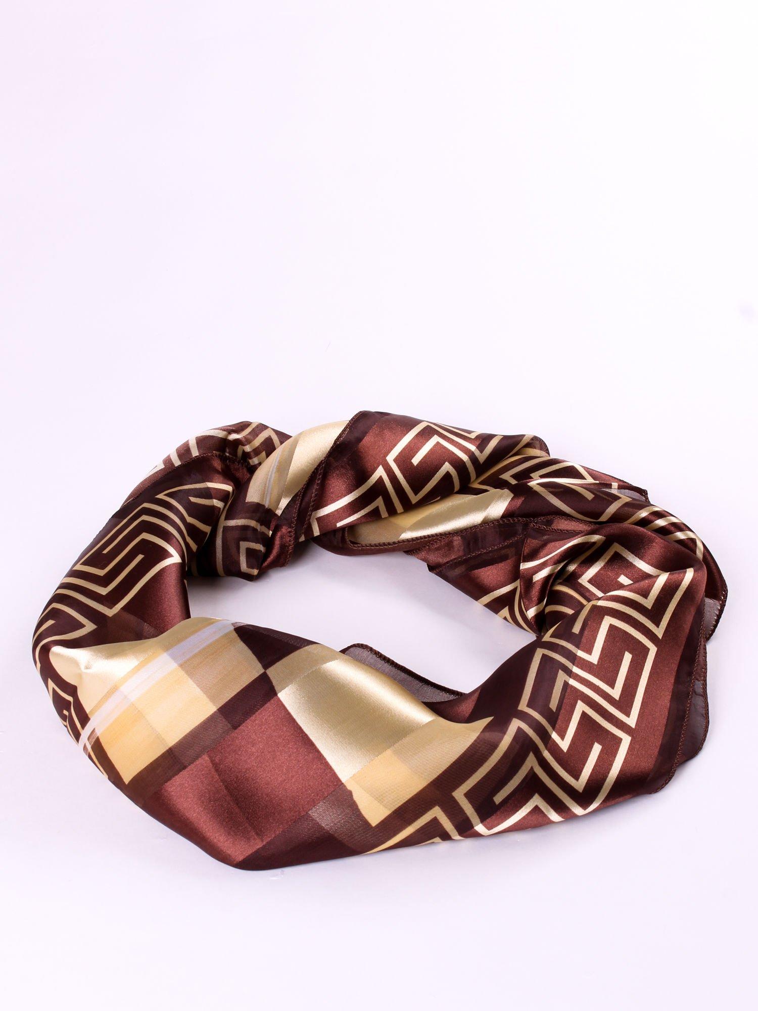 Złoto-brązowa chusta apaszka we wzór geometryczny                                  zdj.                                  2