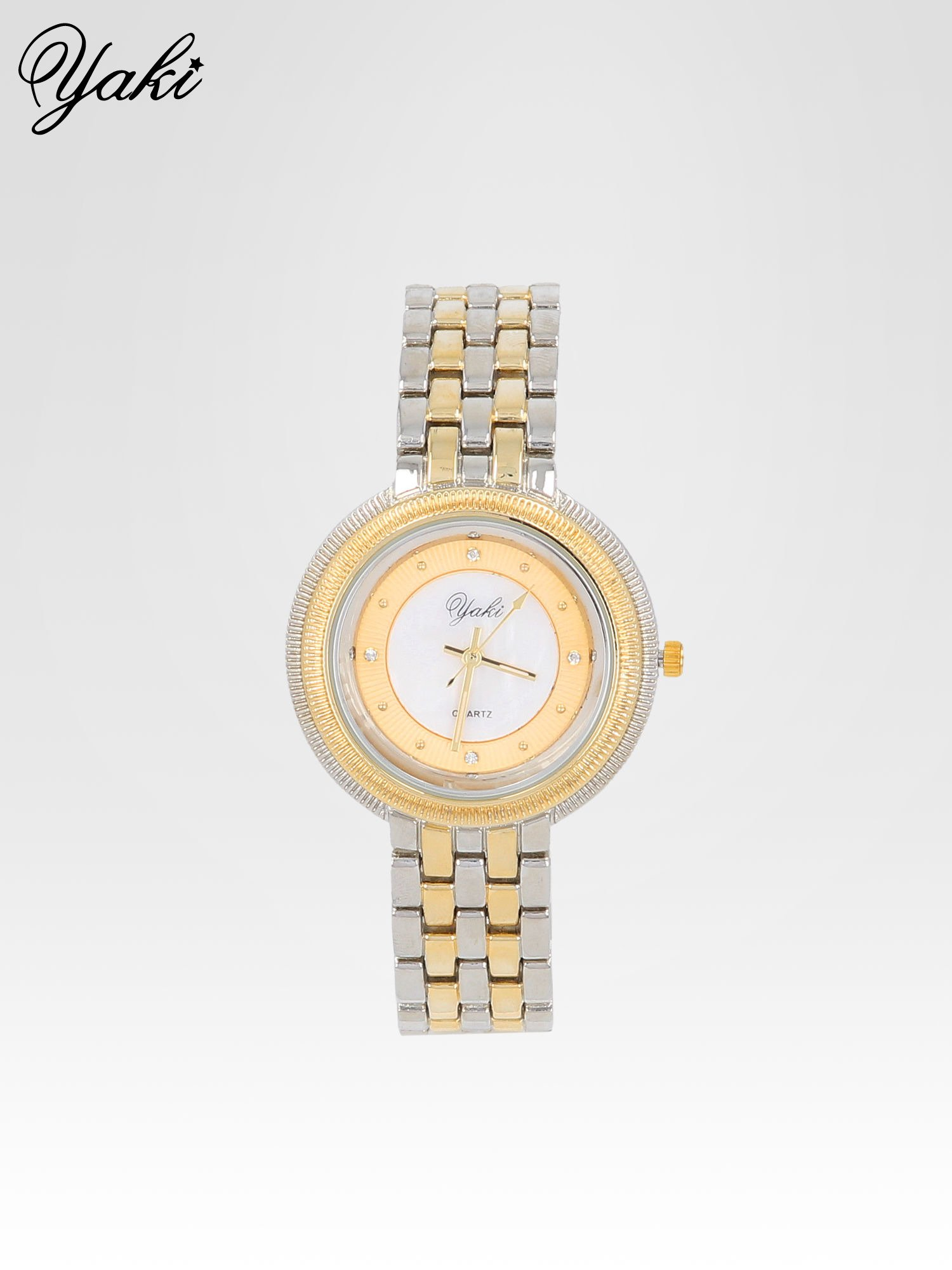 Złoto-srebrny zegarek damski z biżuteryjną kopertą                                  zdj.                                  1