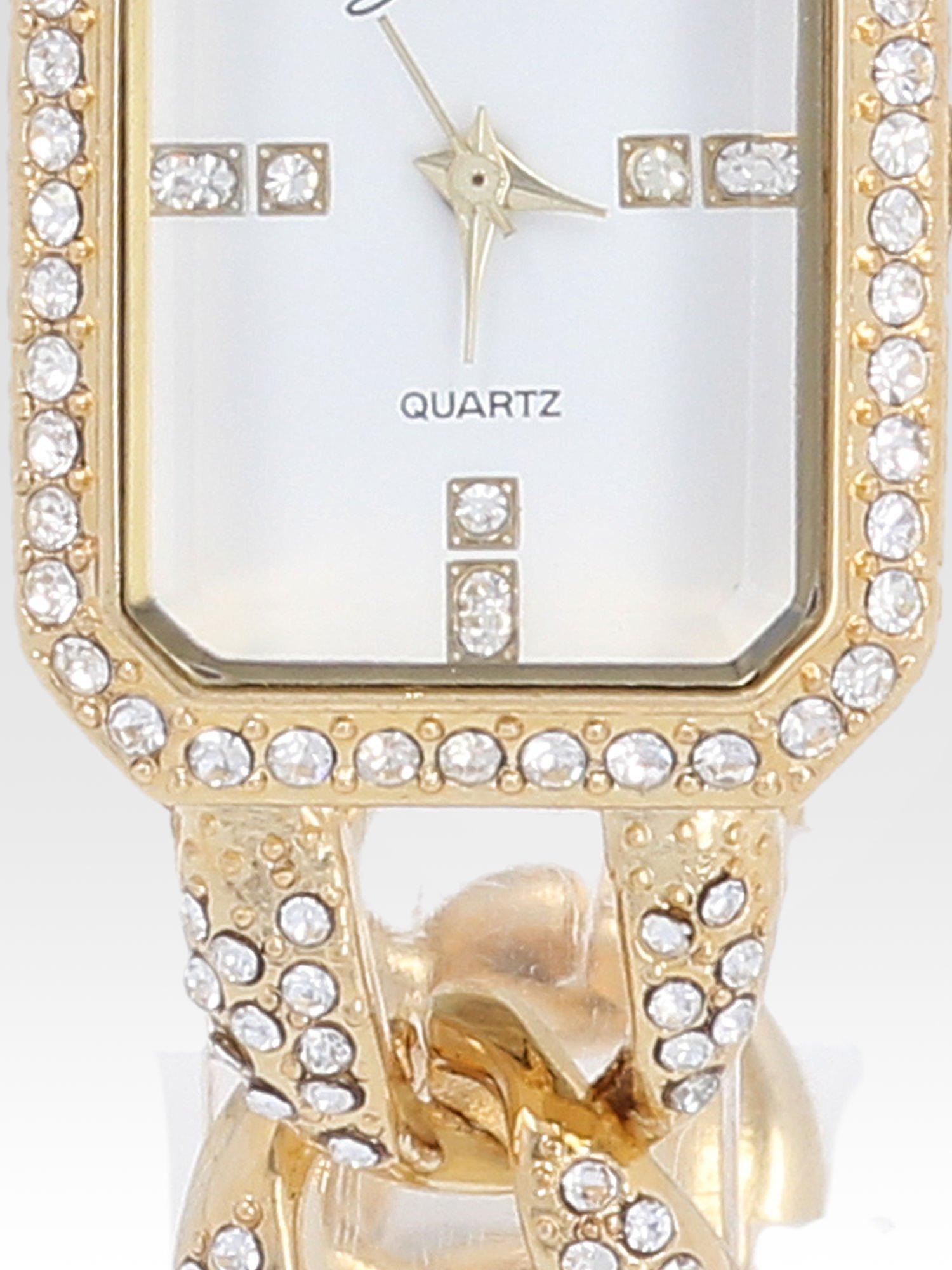 Złoty biżuteryjny zegarek damski na bransolecie z cyrkoniami                                  zdj.                                  5