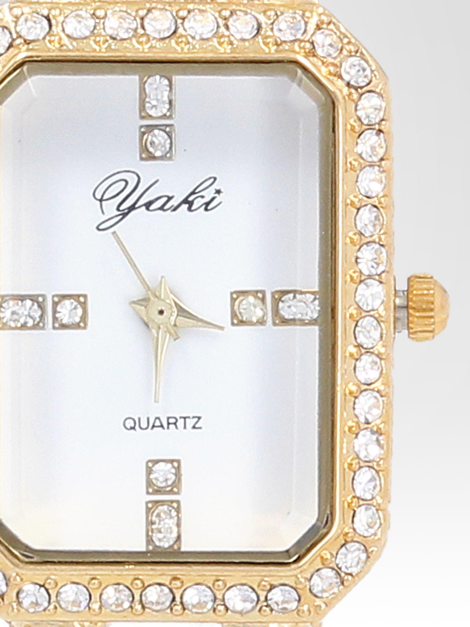 Złoty biżuteryjny zegarek damski na bransolecie z cyrkoniami                                  zdj.                                  6